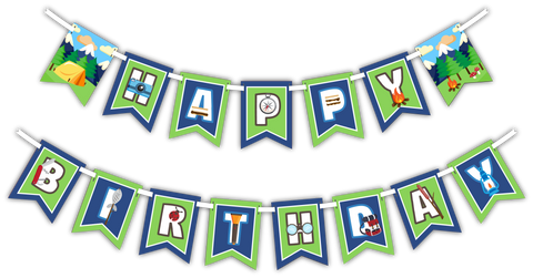 "Camping Adventure ""Happy Birthday"" Party Banner"