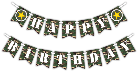 "Classic Camo ""Happy Birthday"" Party Banner"