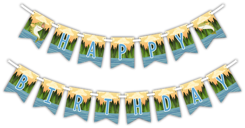 "Gone Fishing ""Happy Birthday"" Party Banner"