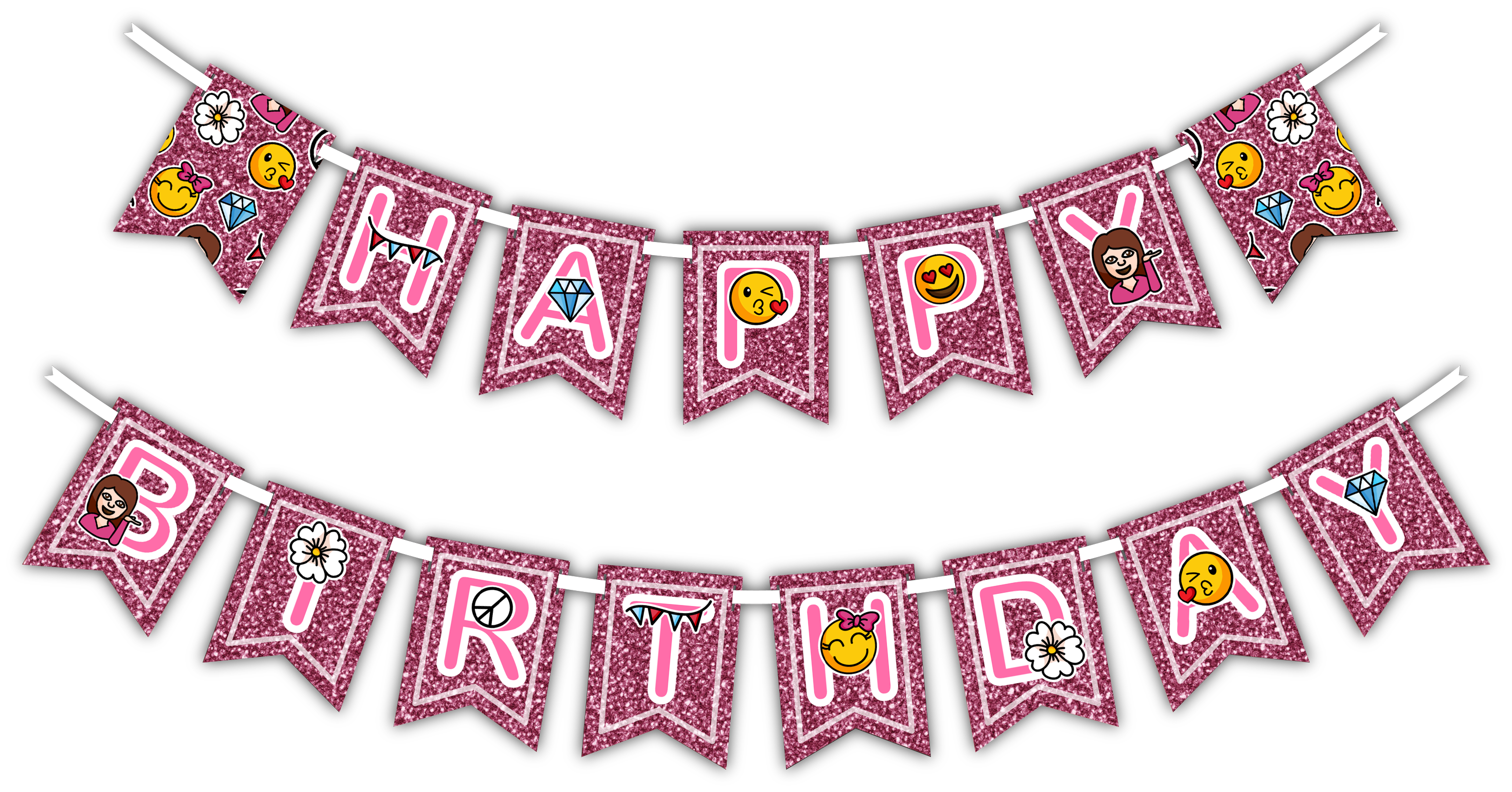 "Girl Pink Glitter Emoji ""Happy Birthday"" Party Banner - BirthdayGalore.com"
