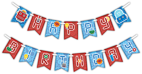 "Robot ""Happy Birthday"" Party Banner"
