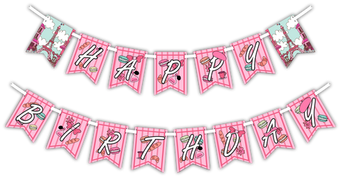 "Pink Paris ""Happy Birthday"" Party Banner"