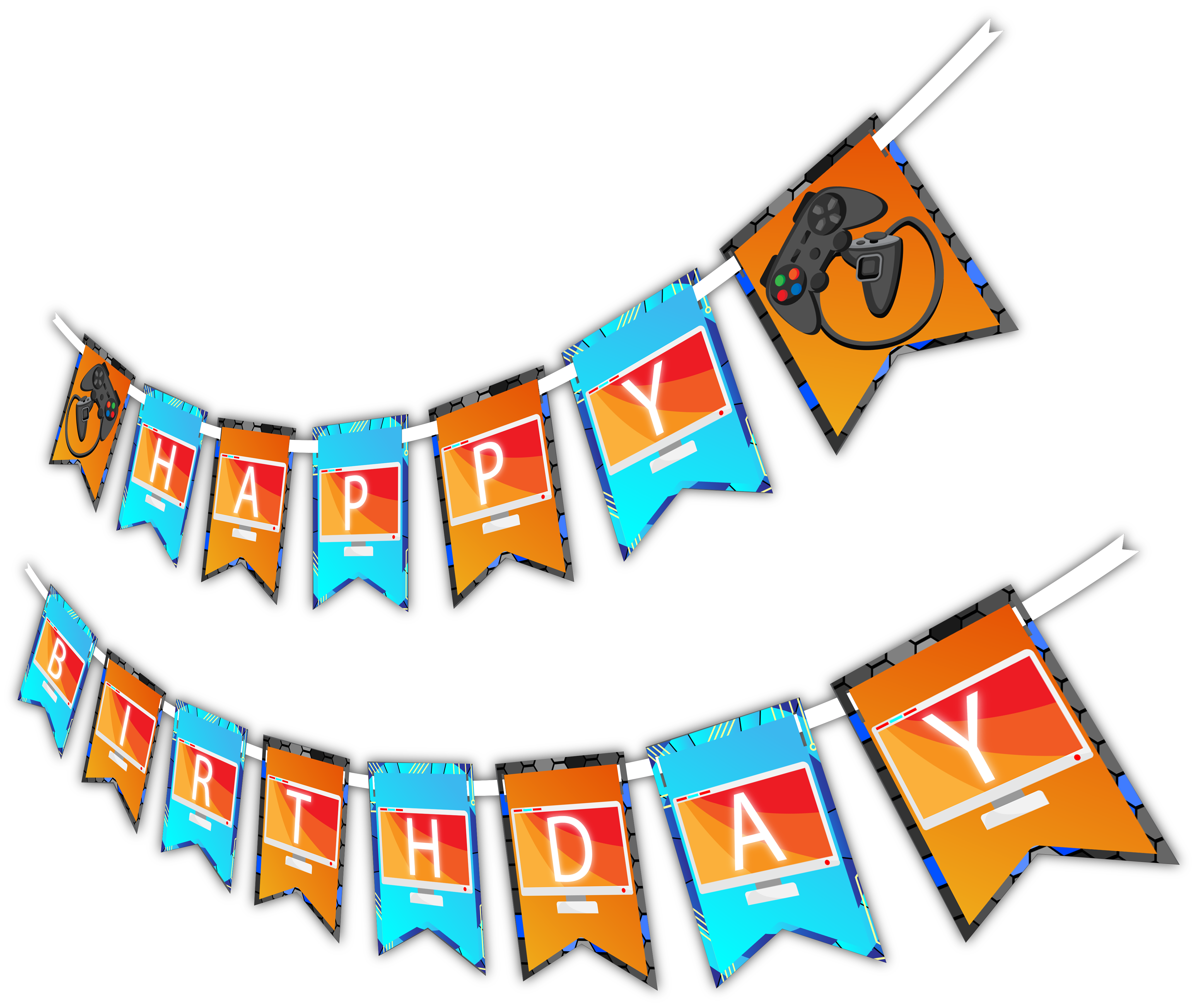 "Video Gamer Game On ""Happy Birthday"" Party Banner"
