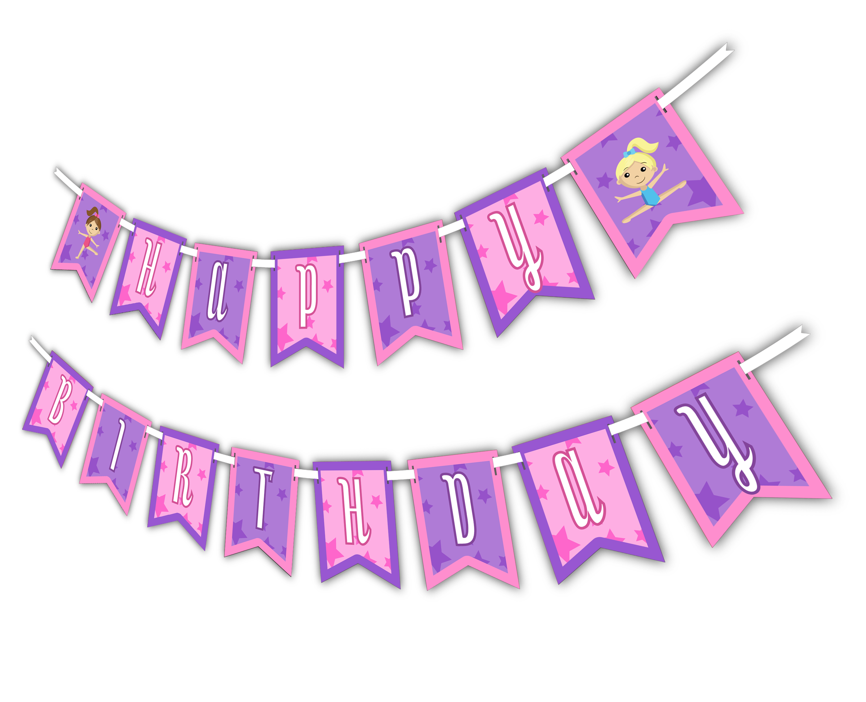 "Gymnastics Star ""Happy Birthday"" Party Banner - BirthdayGalore.com"