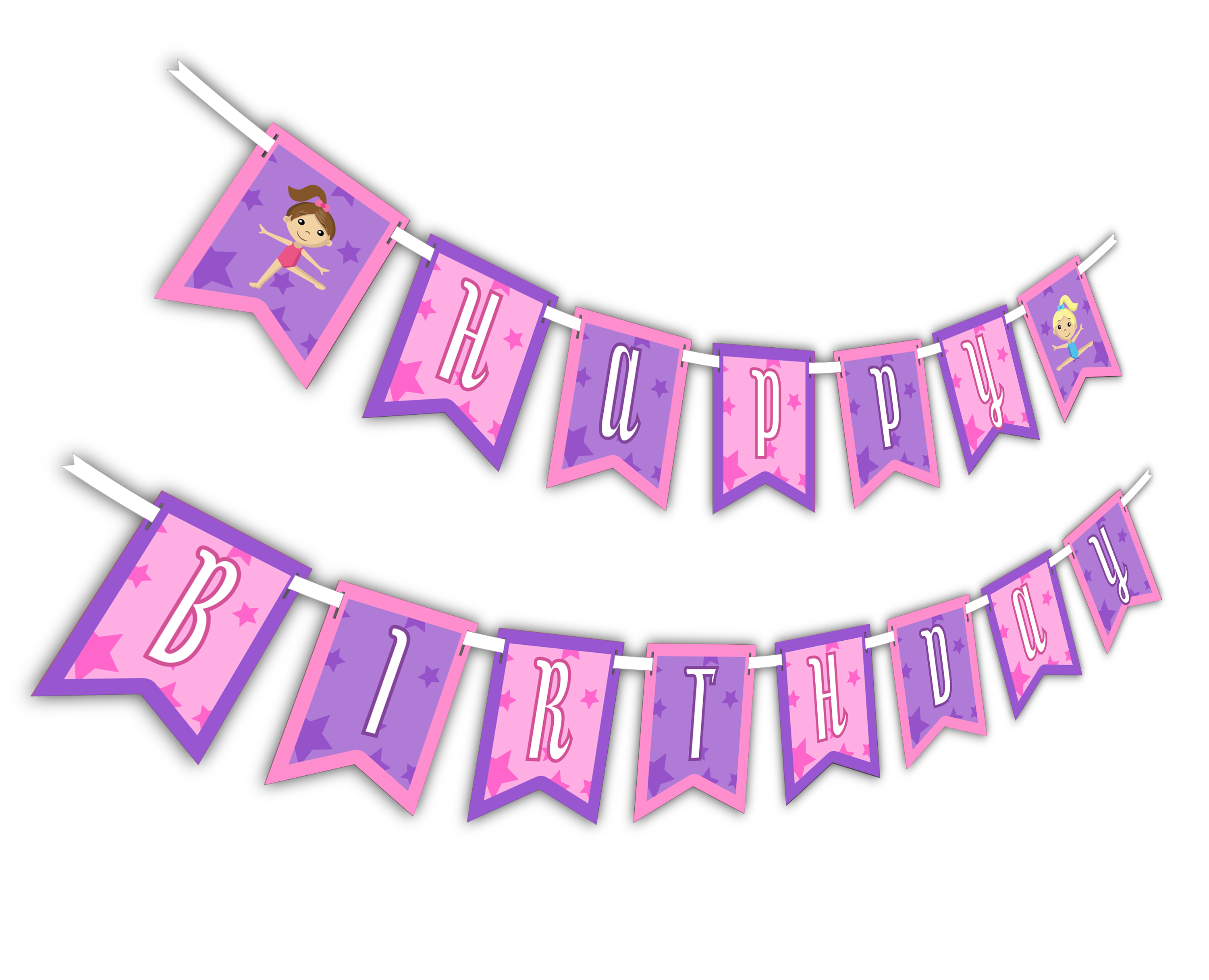 "Gymnastics Star ""Happy Birthday"" Party Banner"