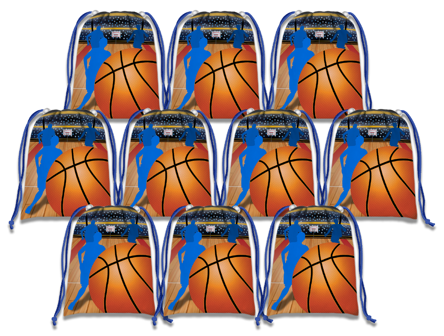 Basketball Drawstring Tote Bag (10 Pack) - BirthdayGalore.com