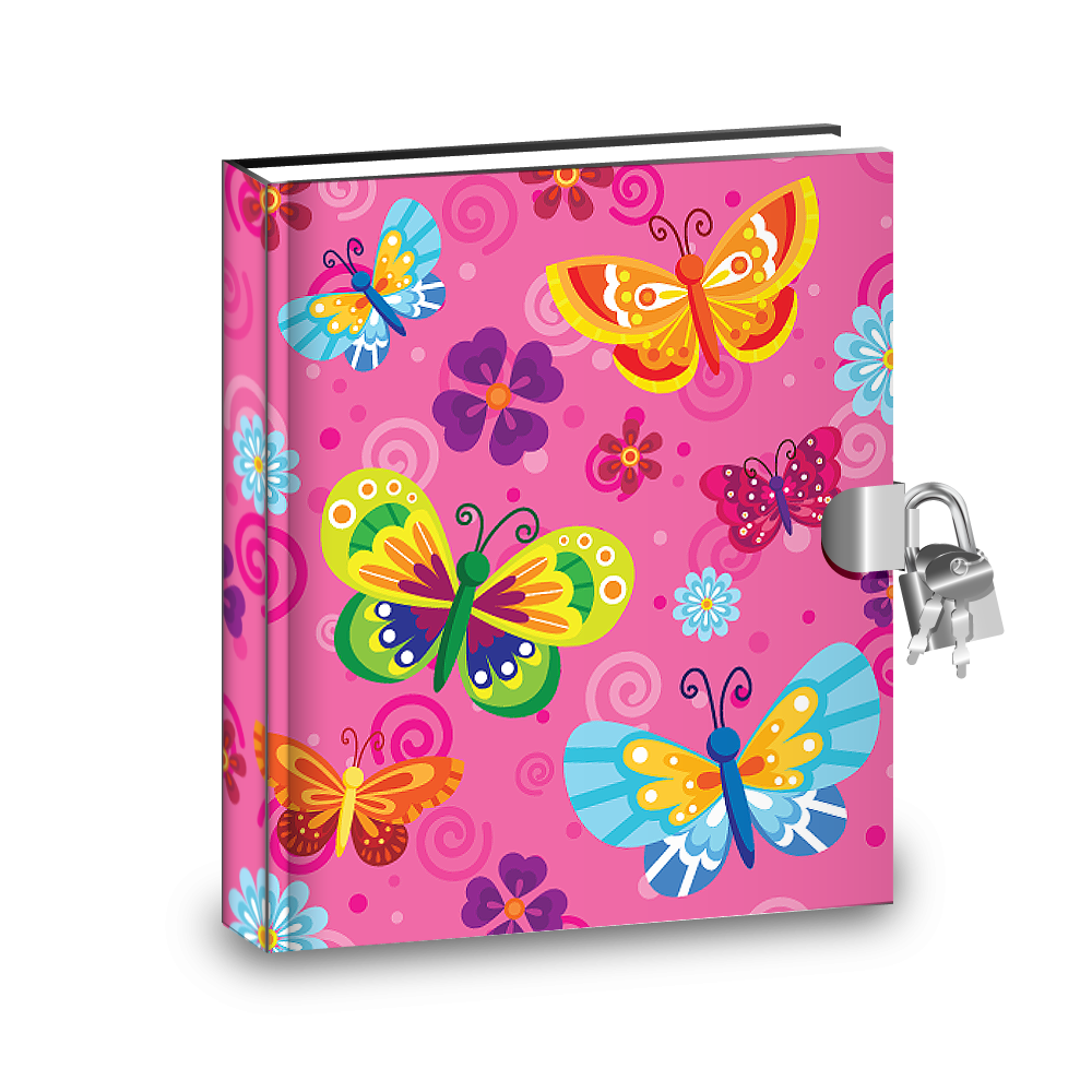Gift Idea: Pink Butterfly Kids Diary With Lock - BirthdayGalore.com
