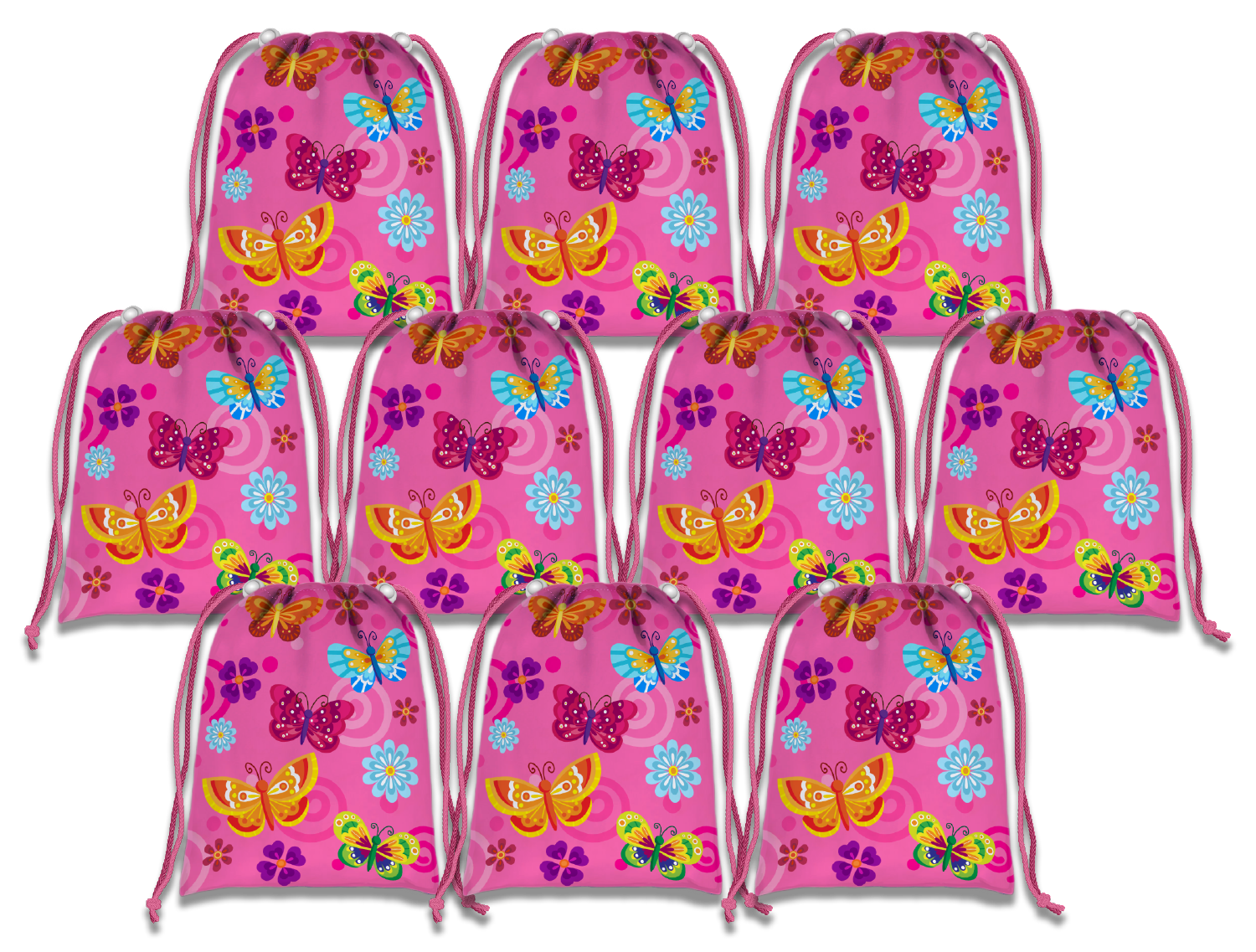 Pink Butterfly Drawstring Tote Bag (10 Pack) - BirthdayGalore.com