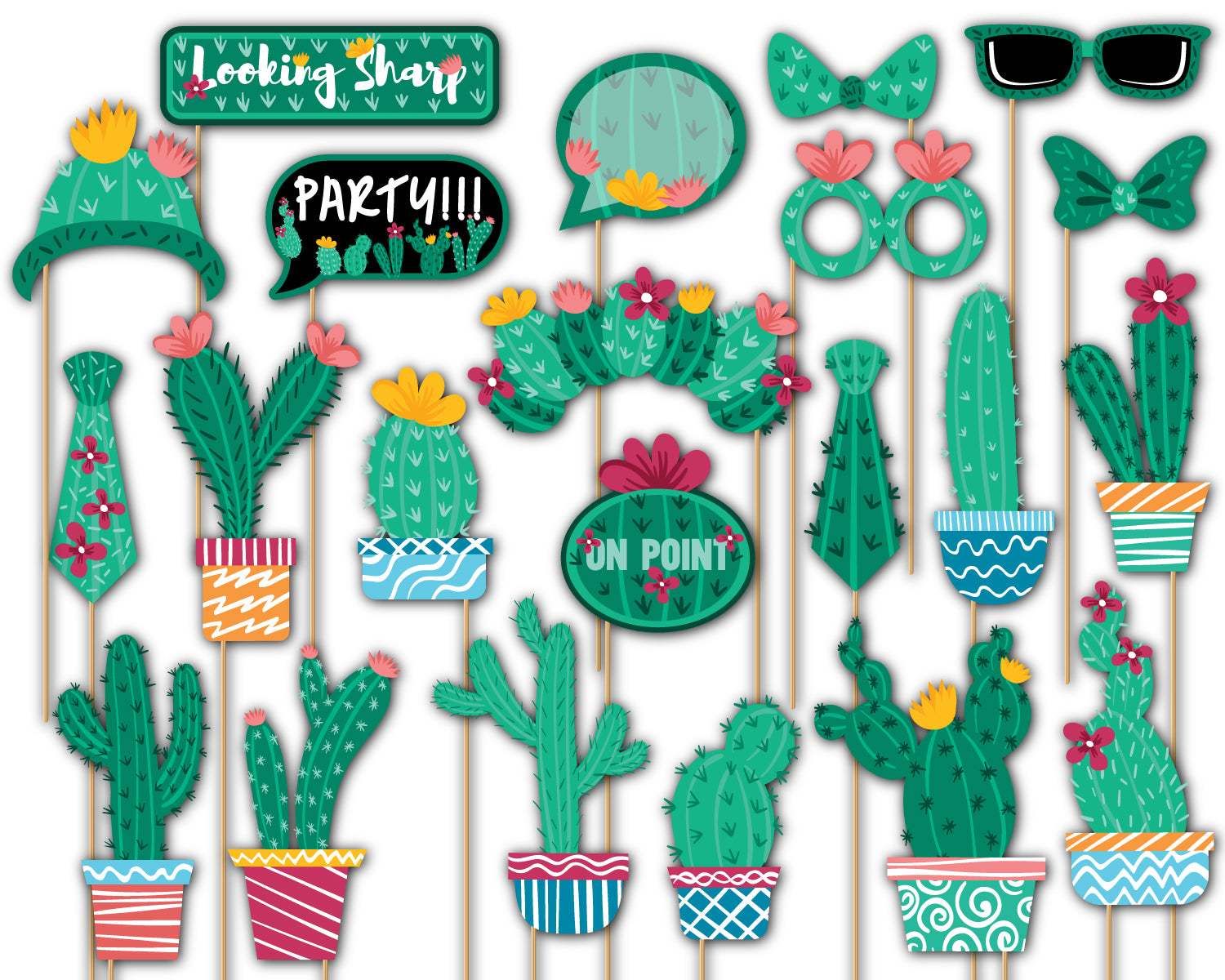 Cactus Photo Booth Props 20pcs Assembled - BirthdayGalore.com