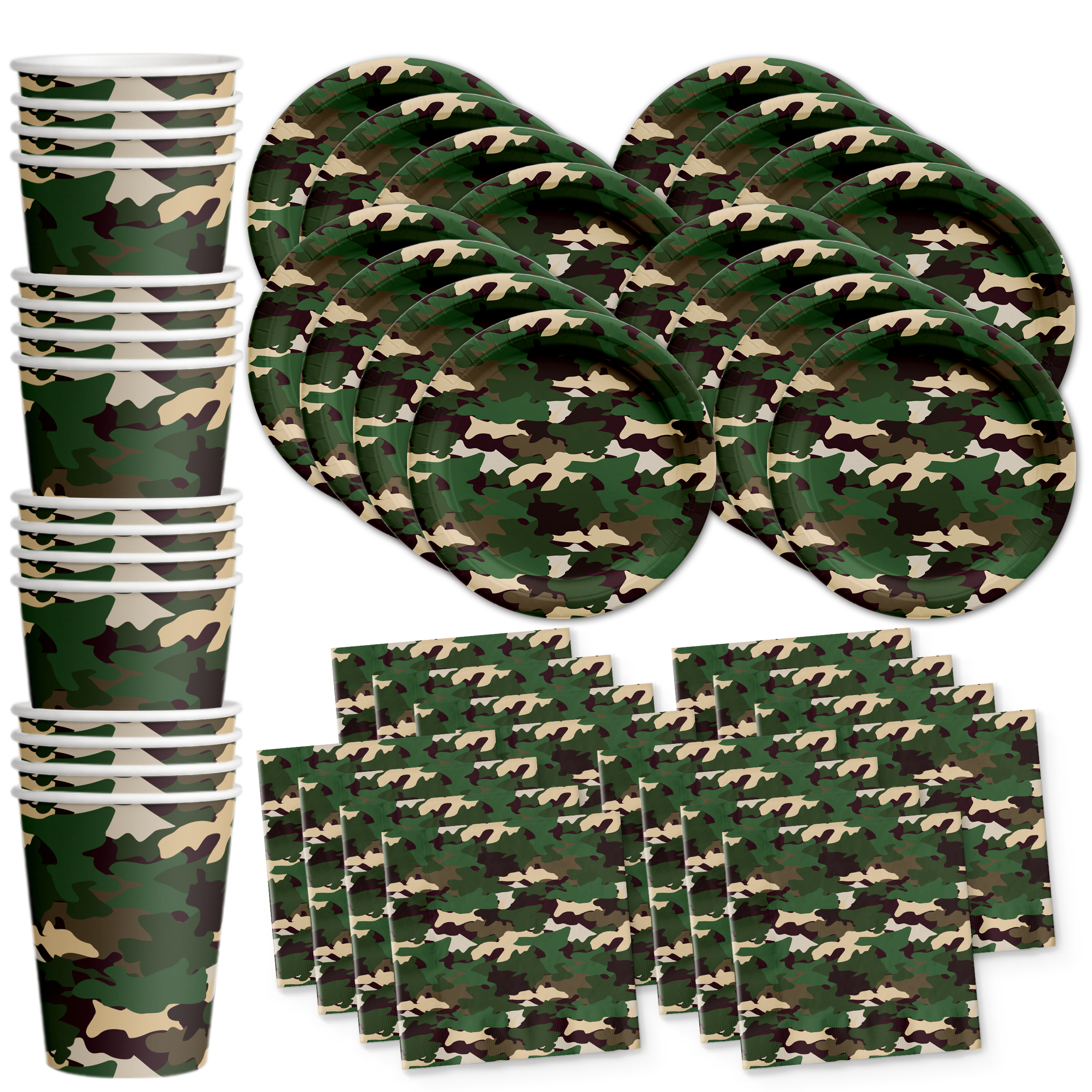 Classic Camo Birthday Party Tableware Kit For 16 Guests