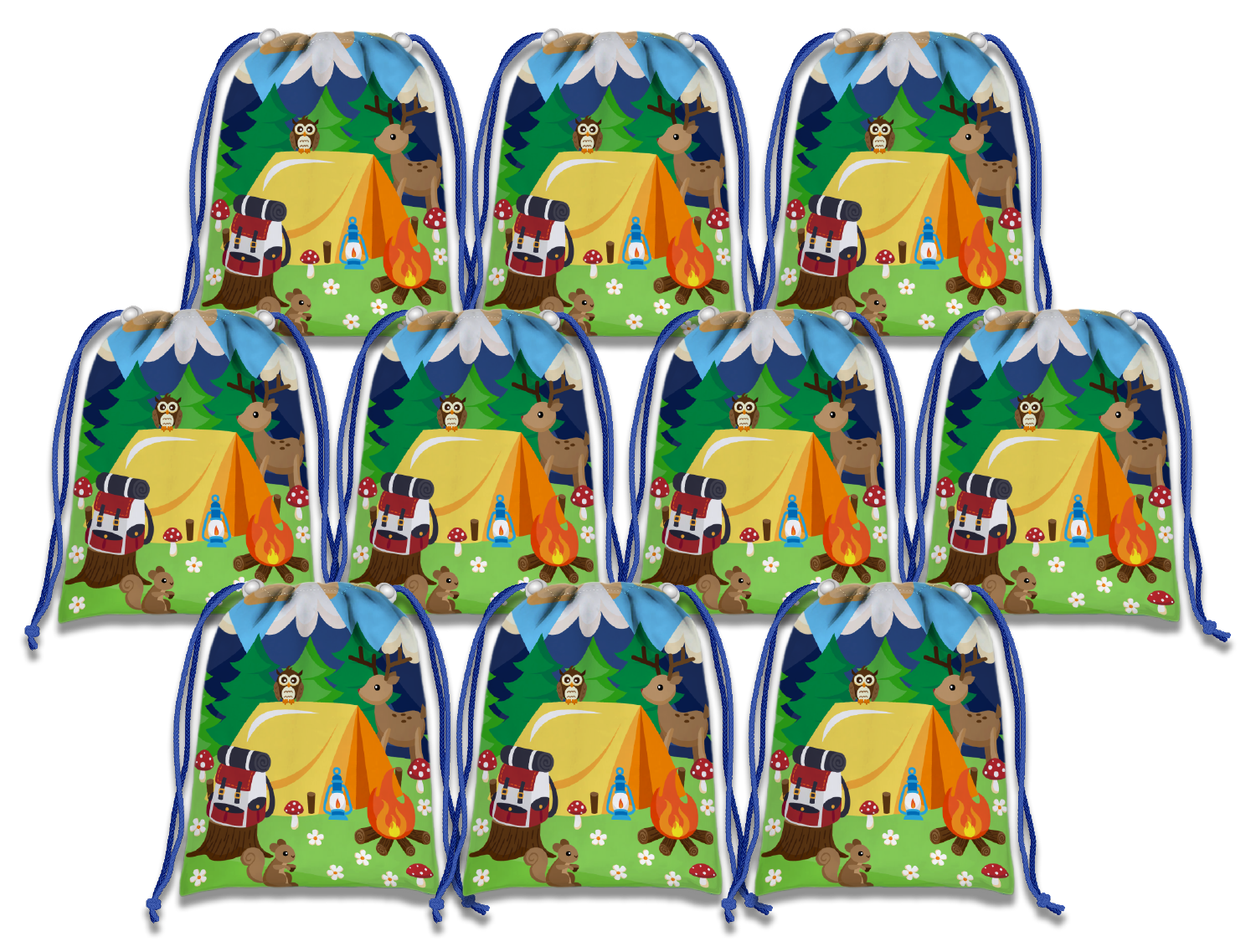 Camping Drawstring Tote Bag (10 Pack) - BirthdayGalore.com