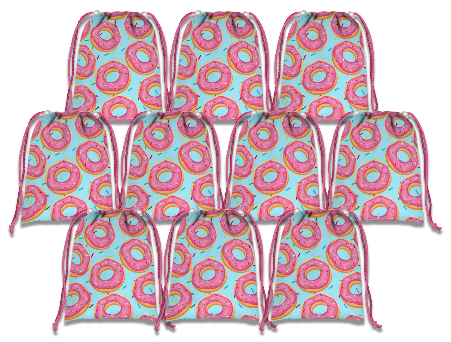 Donut Shoppe Drawstring Tote Bag (10 Pack) - BirthdayGalore.com