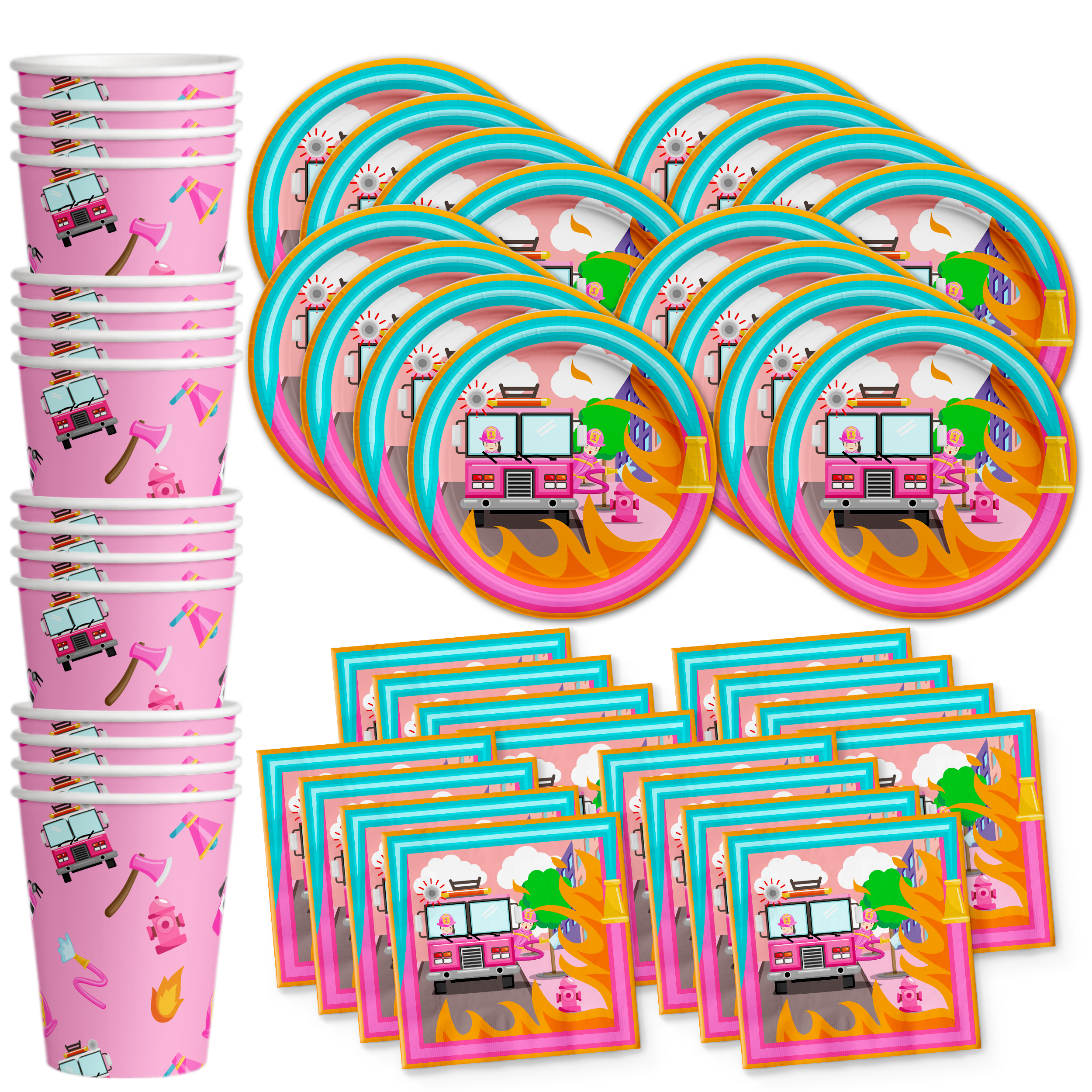 Fire Truck Girl Birthday Party Tableware Kit For 16 Guests - BirthdayGalore.com
