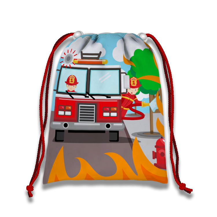 Fire Fighter Drawstring Tote Bag