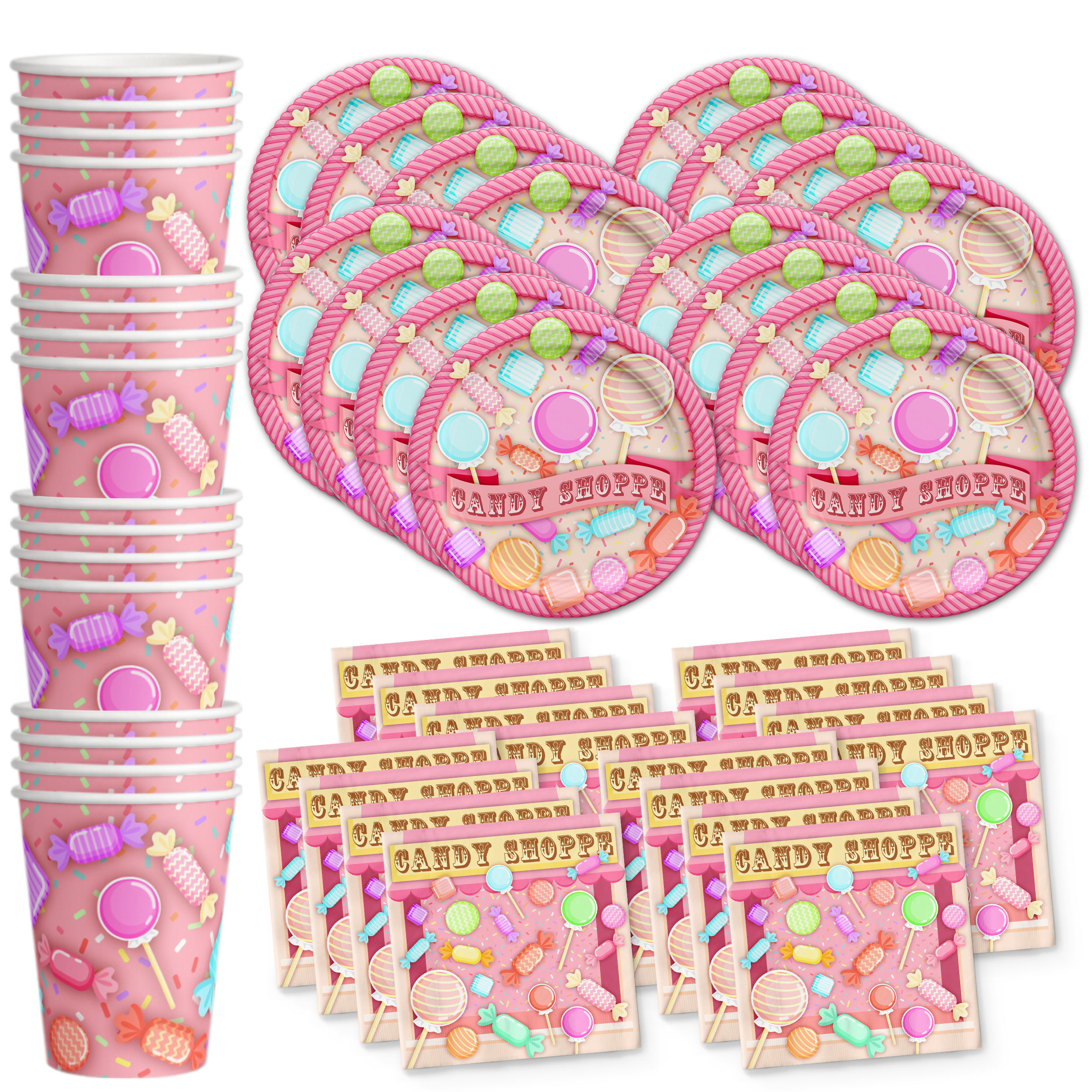Candy Shoppe Birthday Party Tableware Kit For 16 Guests - BirthdayGalore.com