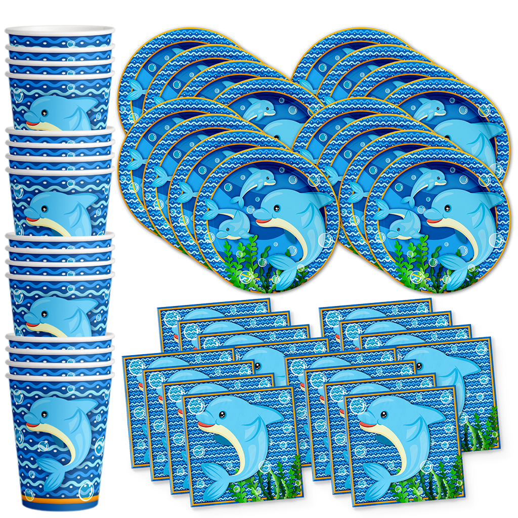 Dolphin Birthday Party Tableware Kit For 16 Guests - BirthdayGalore.com