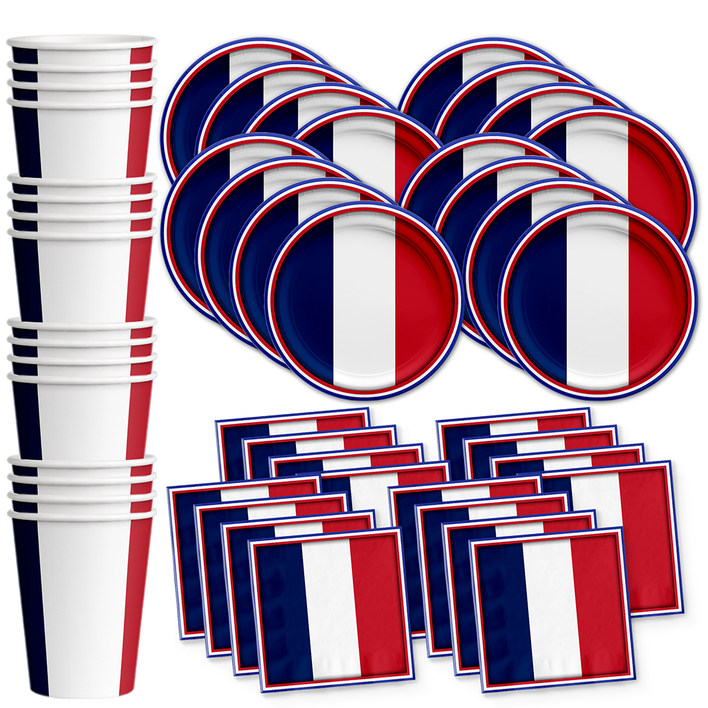French Flag Birthday Party Tableware Kit For 16 Guests - BirthdayGalore.com