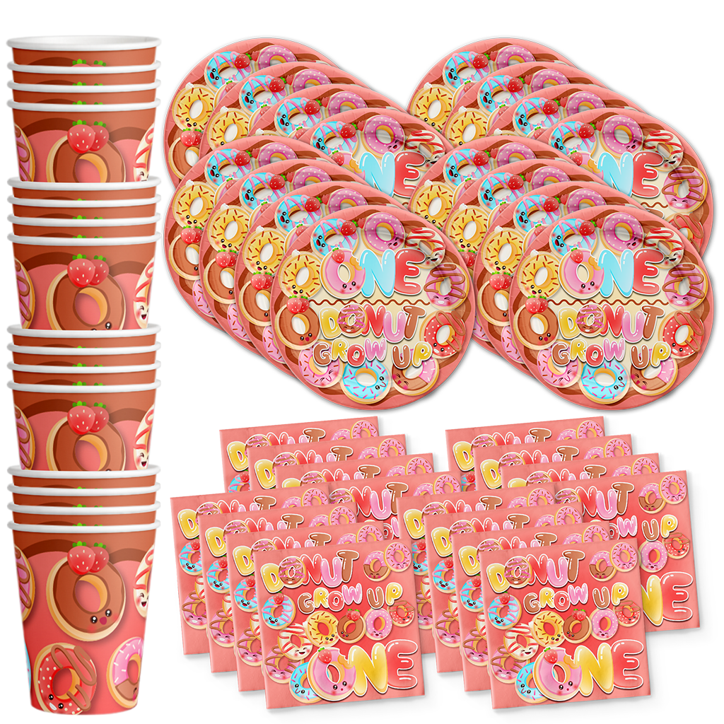 Donut Grow Up Birthday Party Tableware Kit For 16 Guests - BirthdayGalore.com
