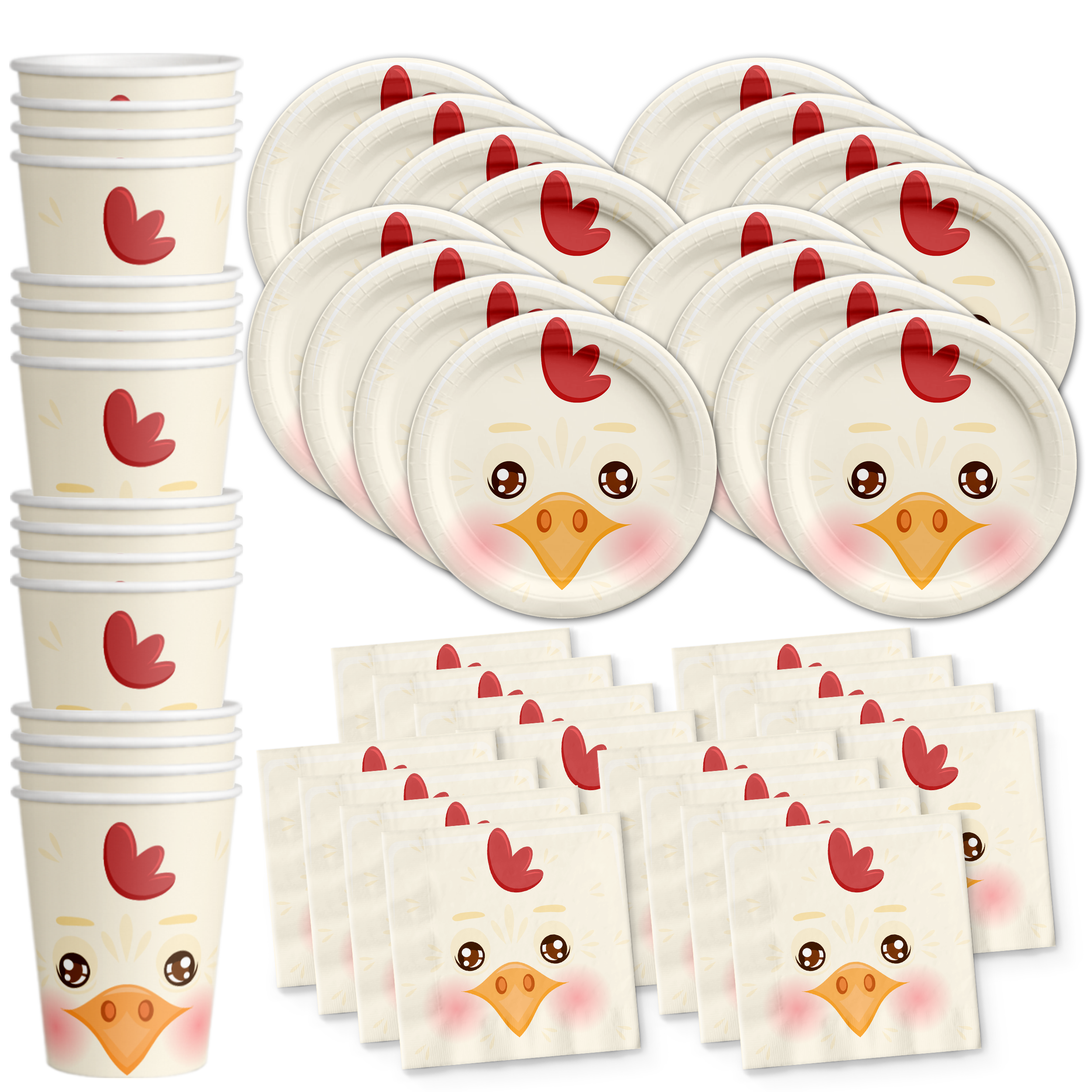 Chicken Birthday Party Tableware Kit For 16 Guests - BirthdayGalore.com