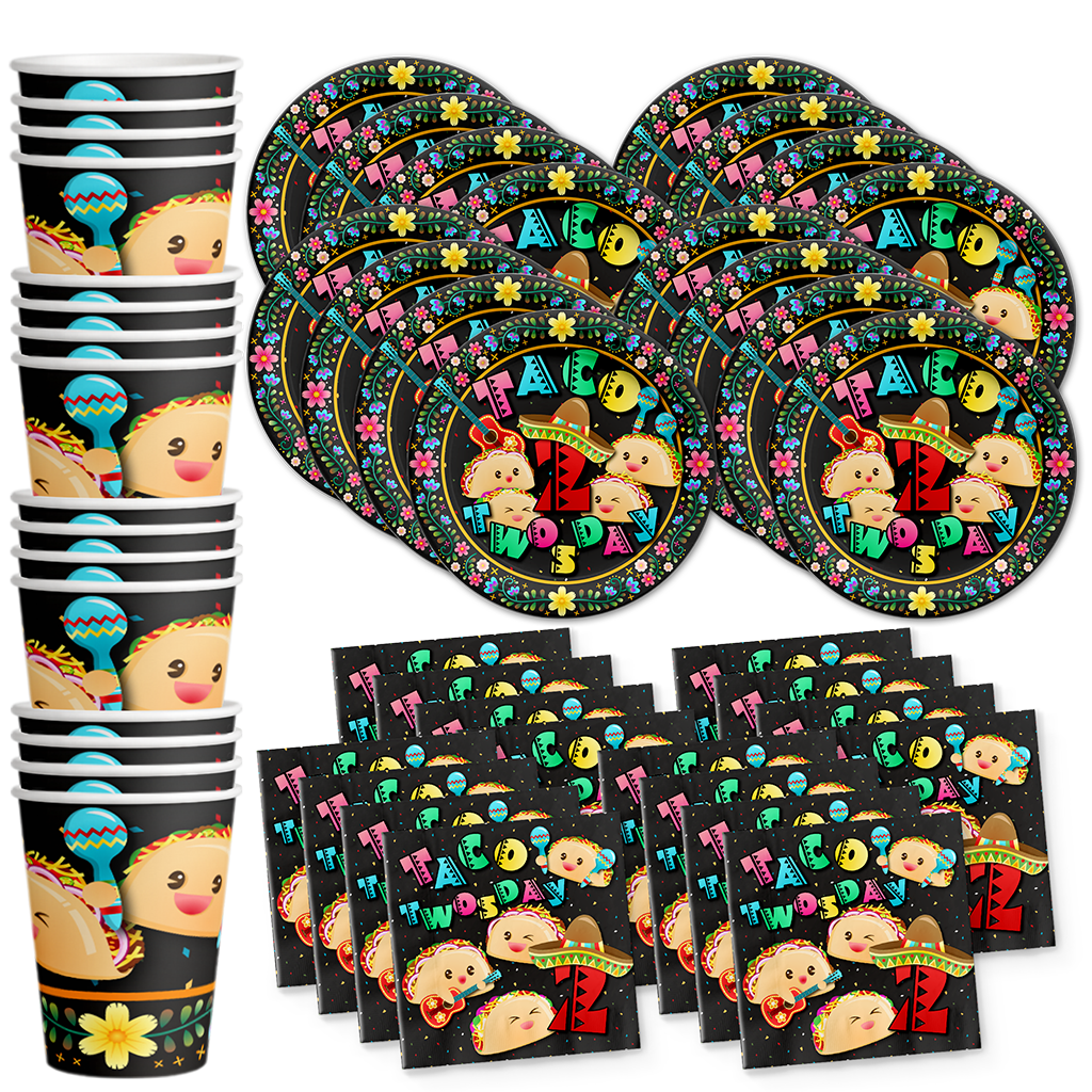 Taco Twosday 2nd Birthday Party Tableware Kit For 16 Guests - BirthdayGalore.com