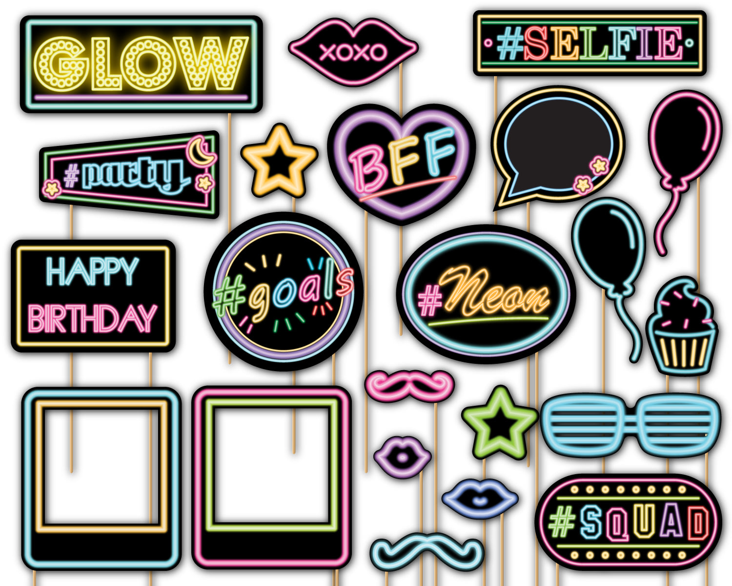 Glow Light Neon Photo Booth Props 20pcs Assembled - BirthdayGalore.com