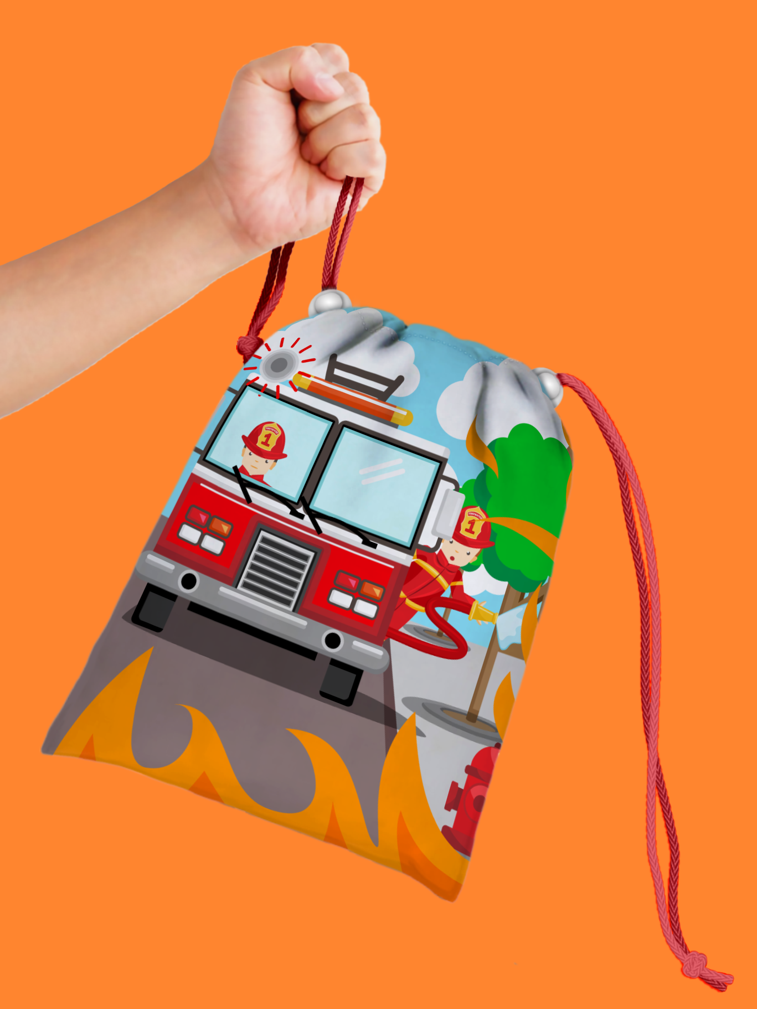 Fire Fighter Drawstring Tote Bag - BirthdayGalore.com