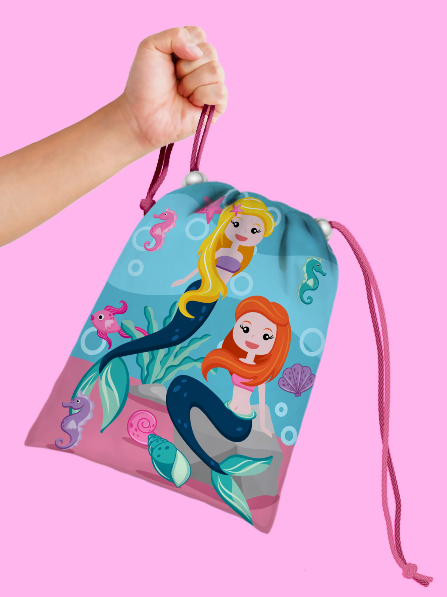 Mermaids Drawstring Tote Bag (10 Pack) - BirthdayGalore.com