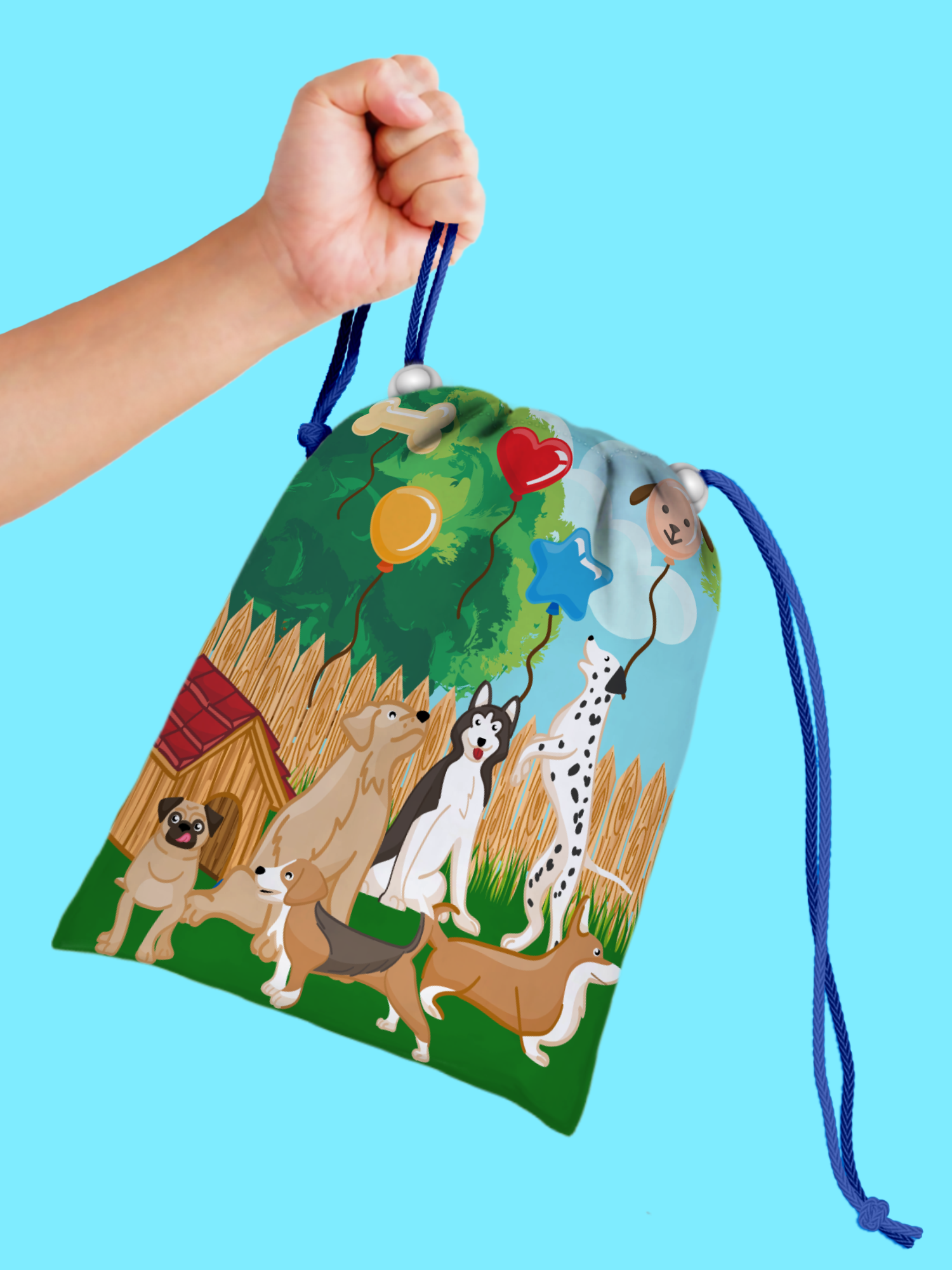 Puppy Dog Drawstring Tote Bag (10 Pack) - BirthdayGalore.com