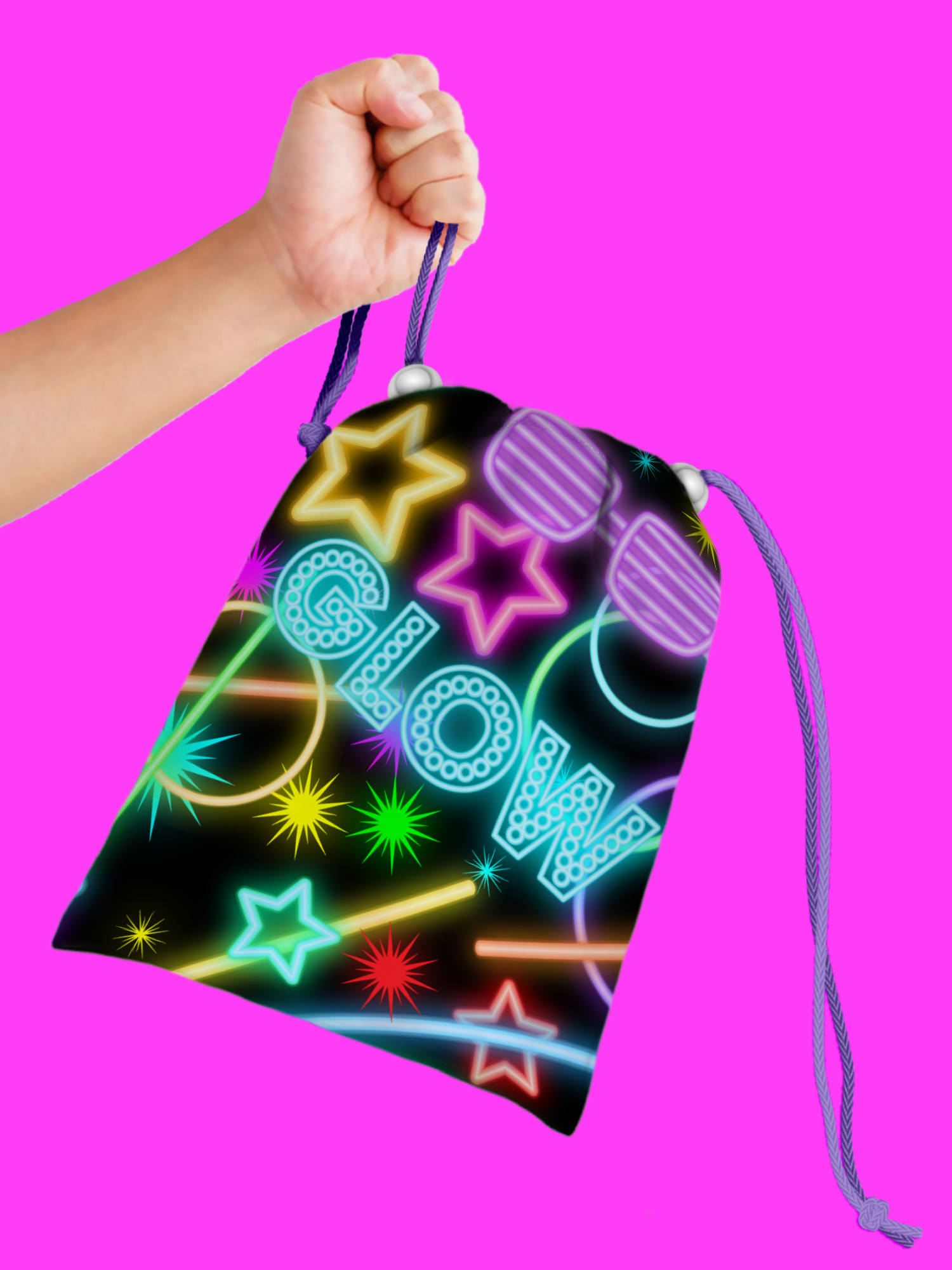 Glow Light Neon Drawstring Tote Bag (10 Pack) - BirthdayGalore.com