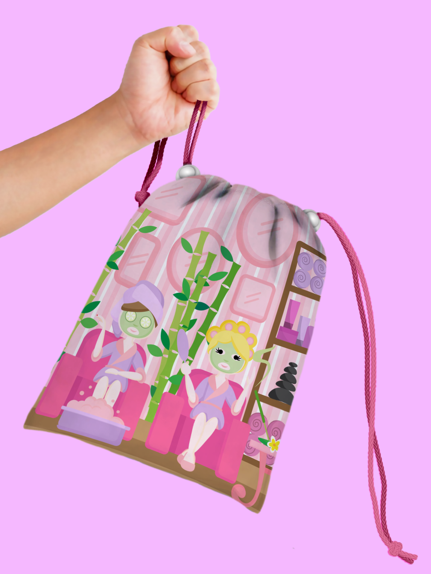 Spa Salon Drawstring Tote Bag (10 Pack) - BirthdayGalore.com