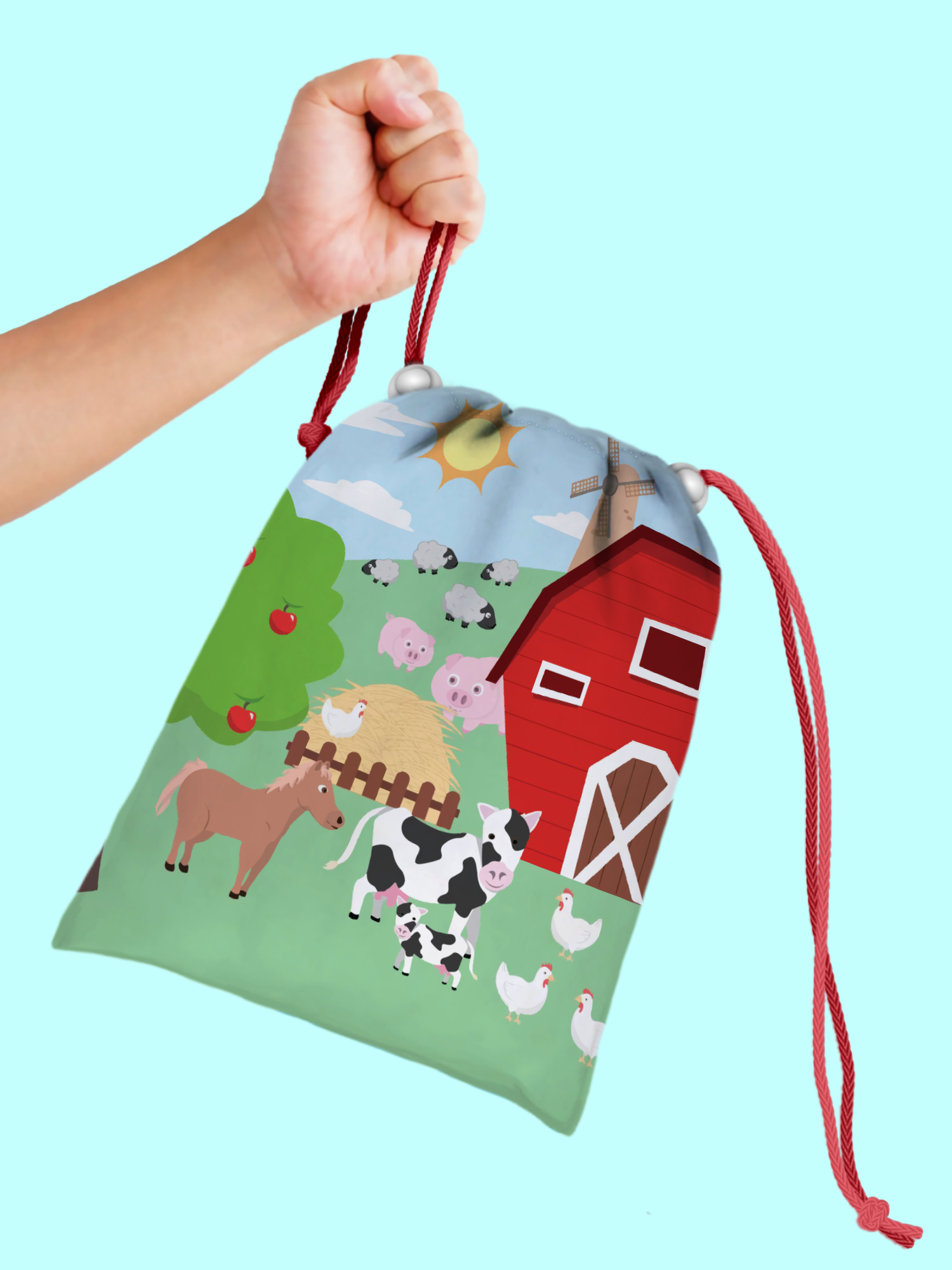 Barnyard Farm Animals Drawstring Tote Bag (10 Pack) - BirthdayGalore.com