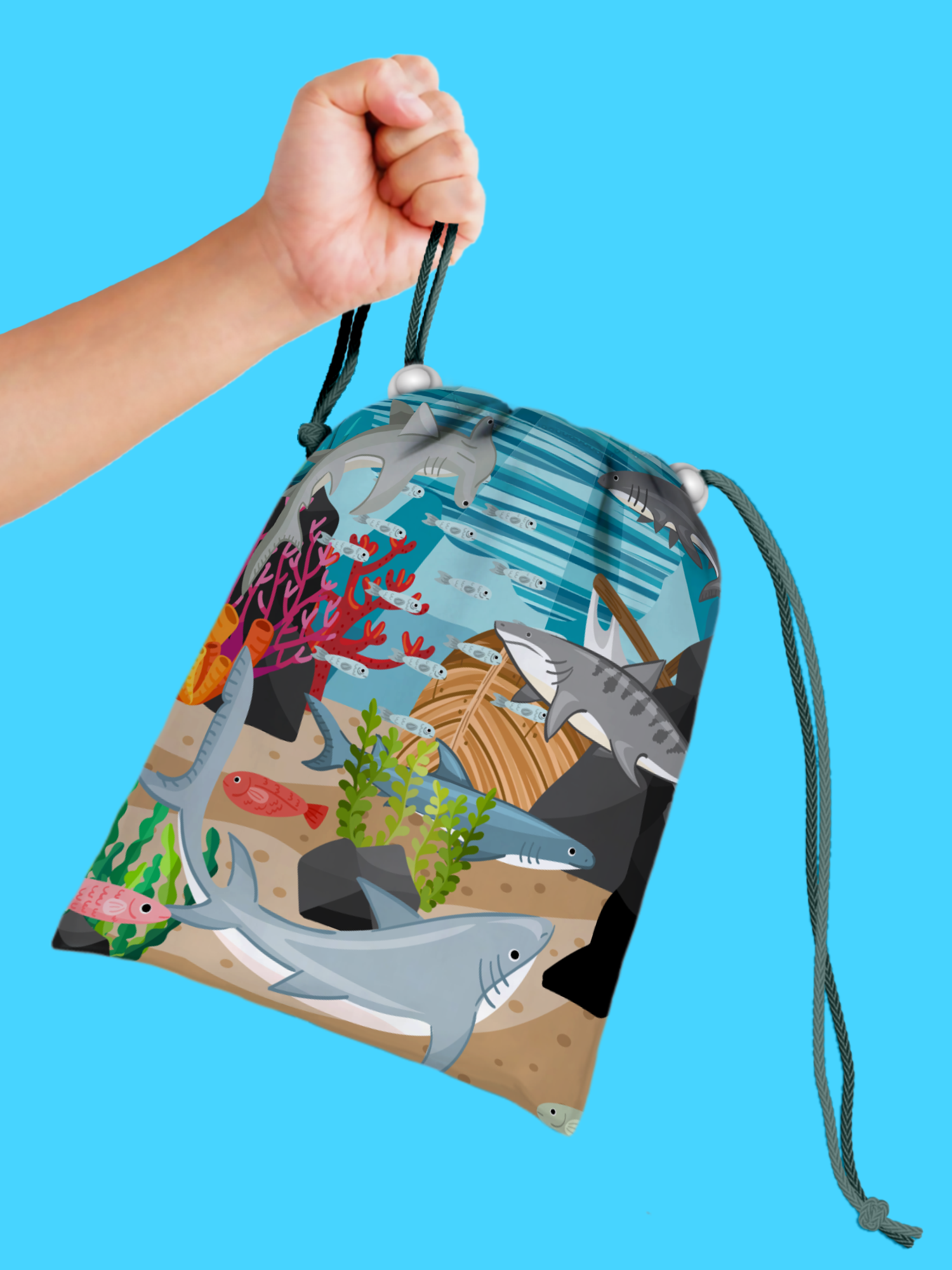 Shark Drawstring Tote Bag (10 Pack) - BirthdayGalore.com