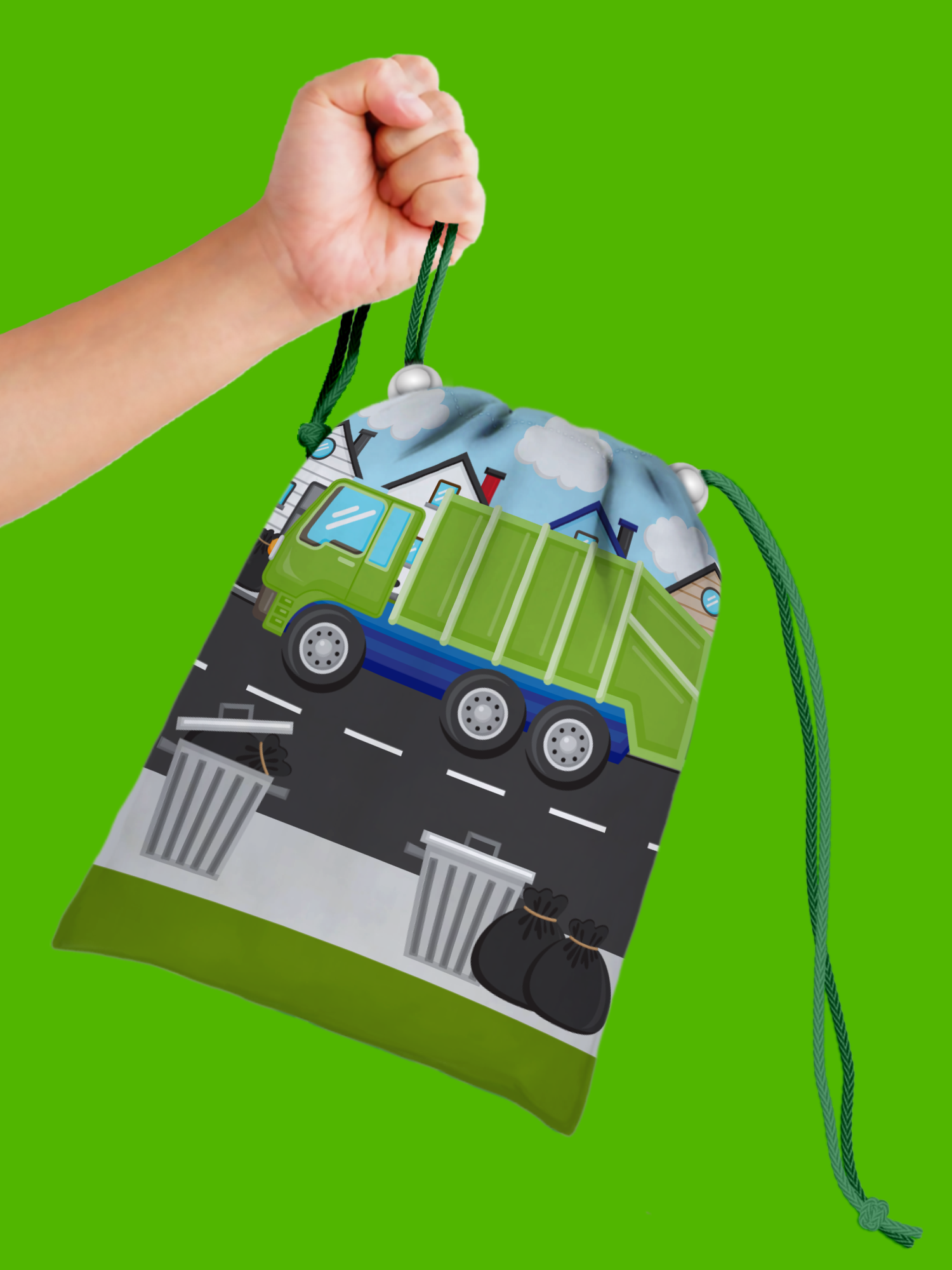 Garbage Truck Drawstring Tote Bag (10 Pack) - BirthdayGalore.com