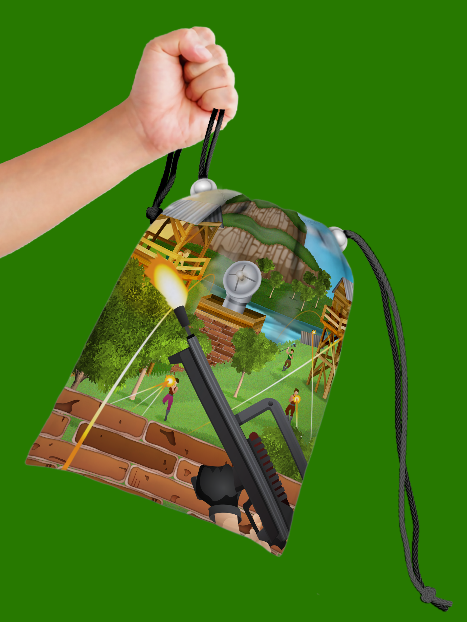 Fortress Drawstring Tote Bag (10 Pack) - BirthdayGalore.com
