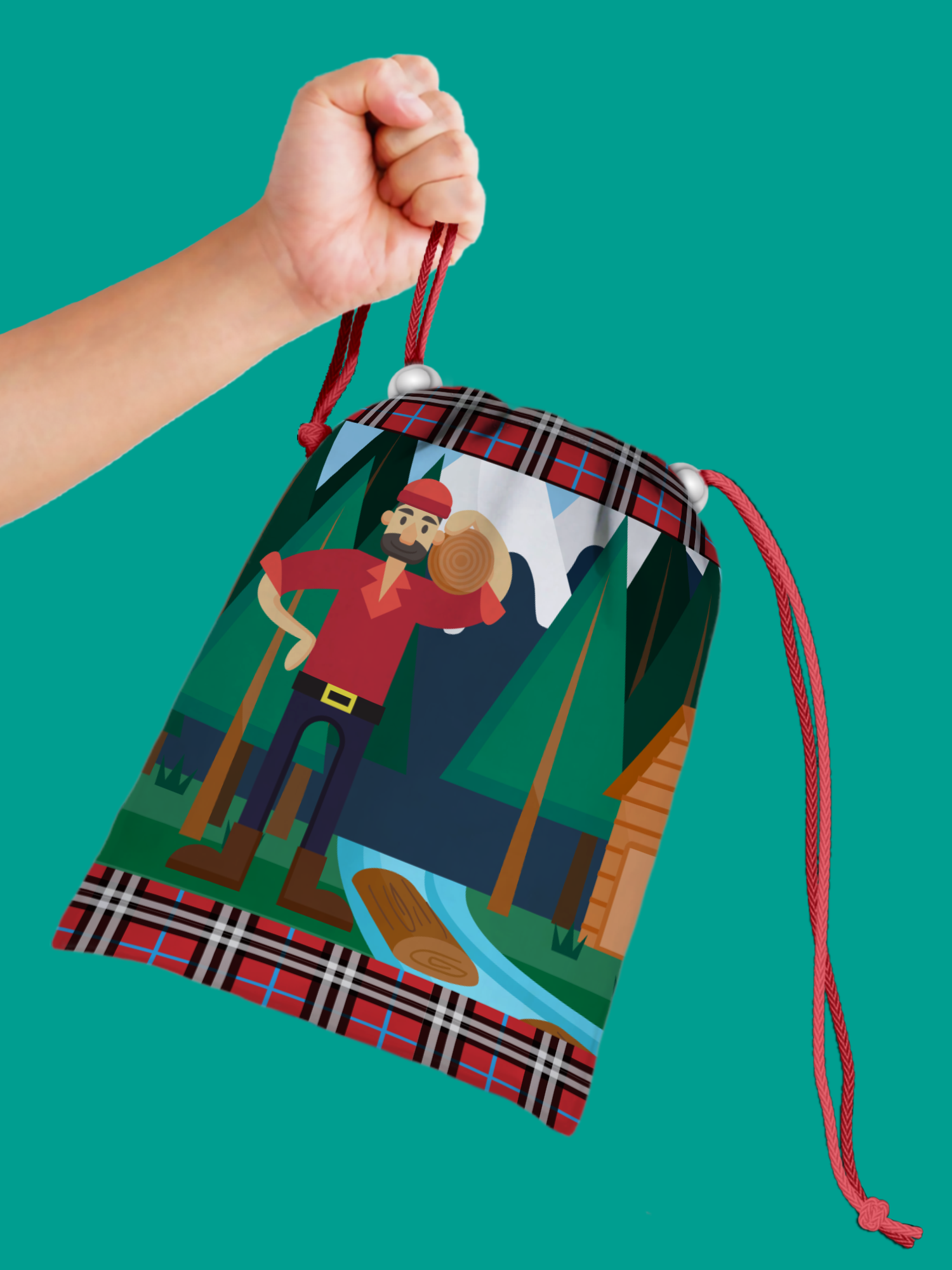 Lumberjack Drawstring Tote Bag (10 Pack) - BirthdayGalore.com