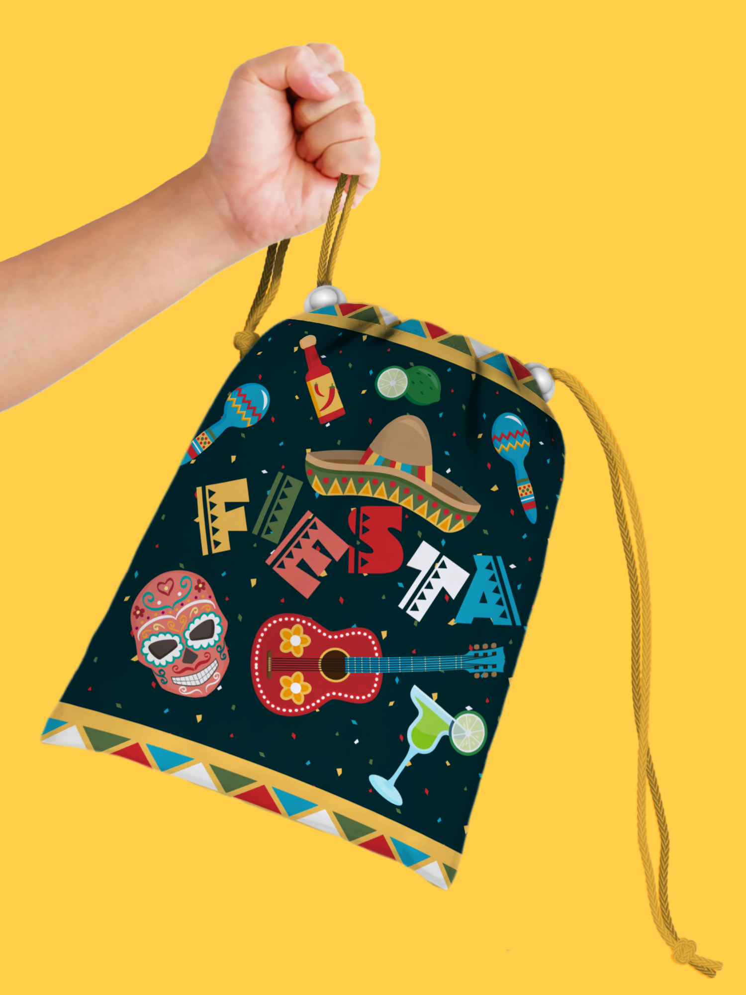 Mexican Fiesta Drawstring Tote Bag (10 Pack) - BirthdayGalore.com