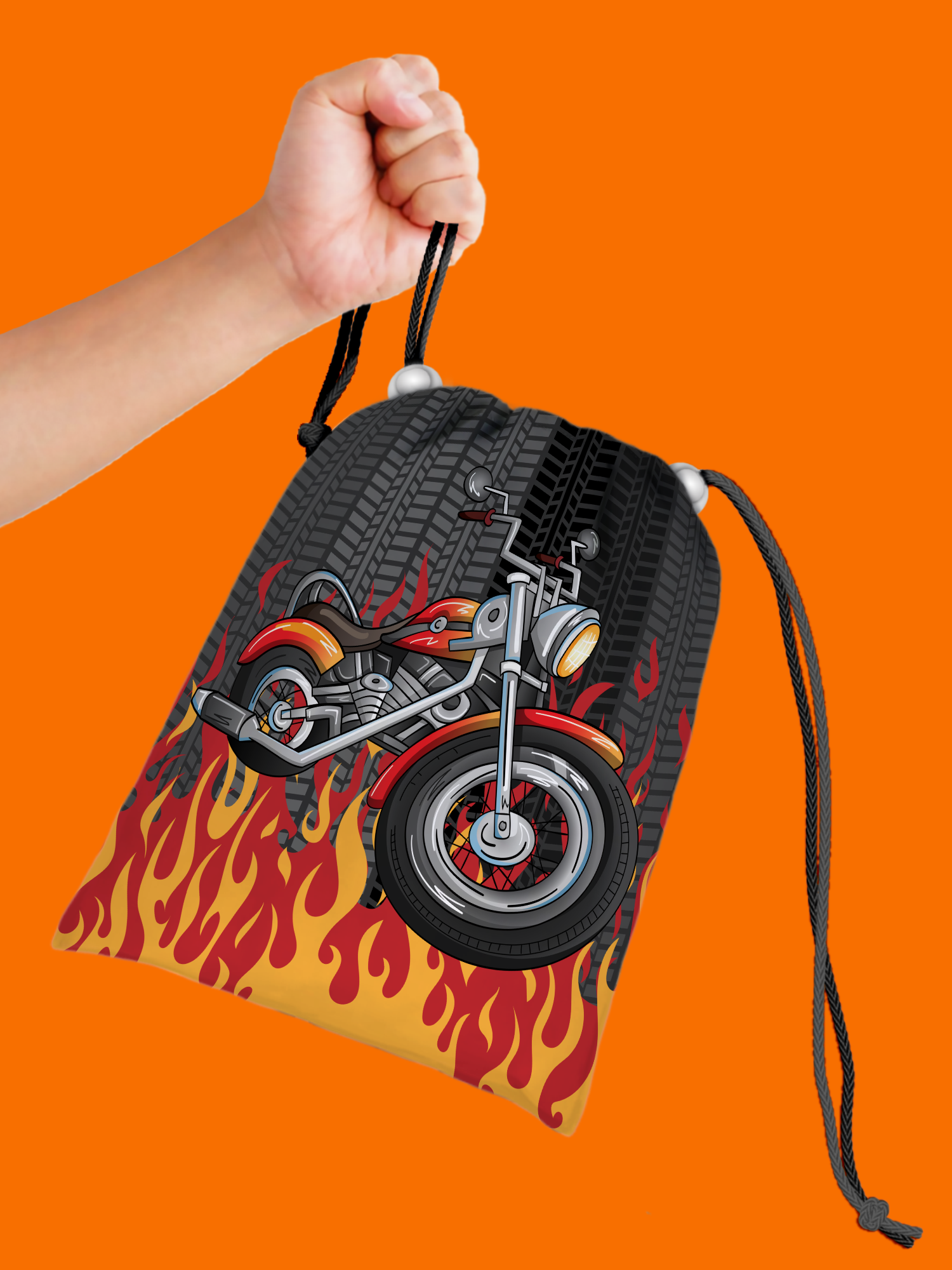 Motorcycle Drawstring Tote Bag (10 Pack) - BirthdayGalore.com