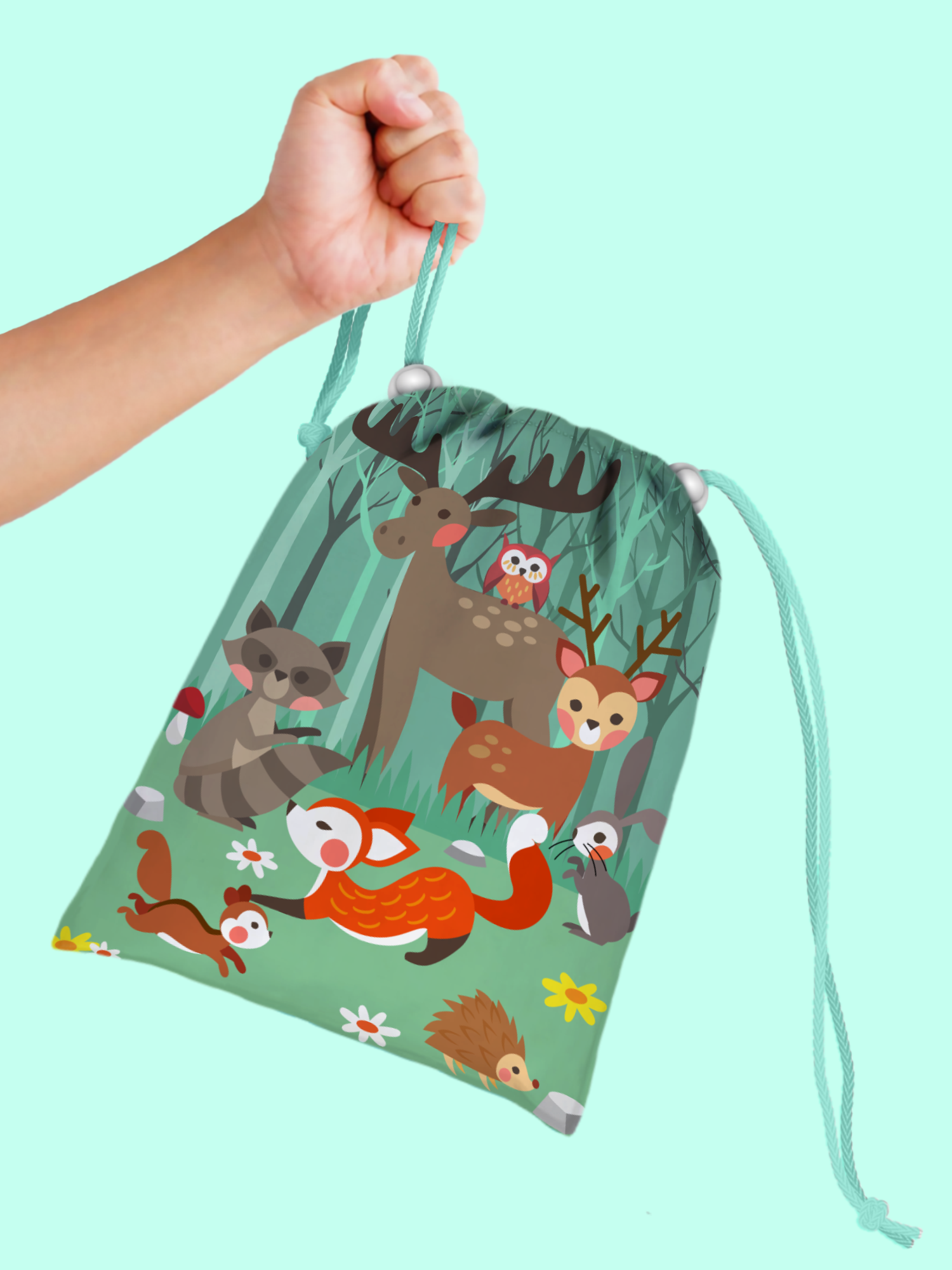 Woodland Animals Drawstring Tote Bag (10 Pack) - BirthdayGalore.com