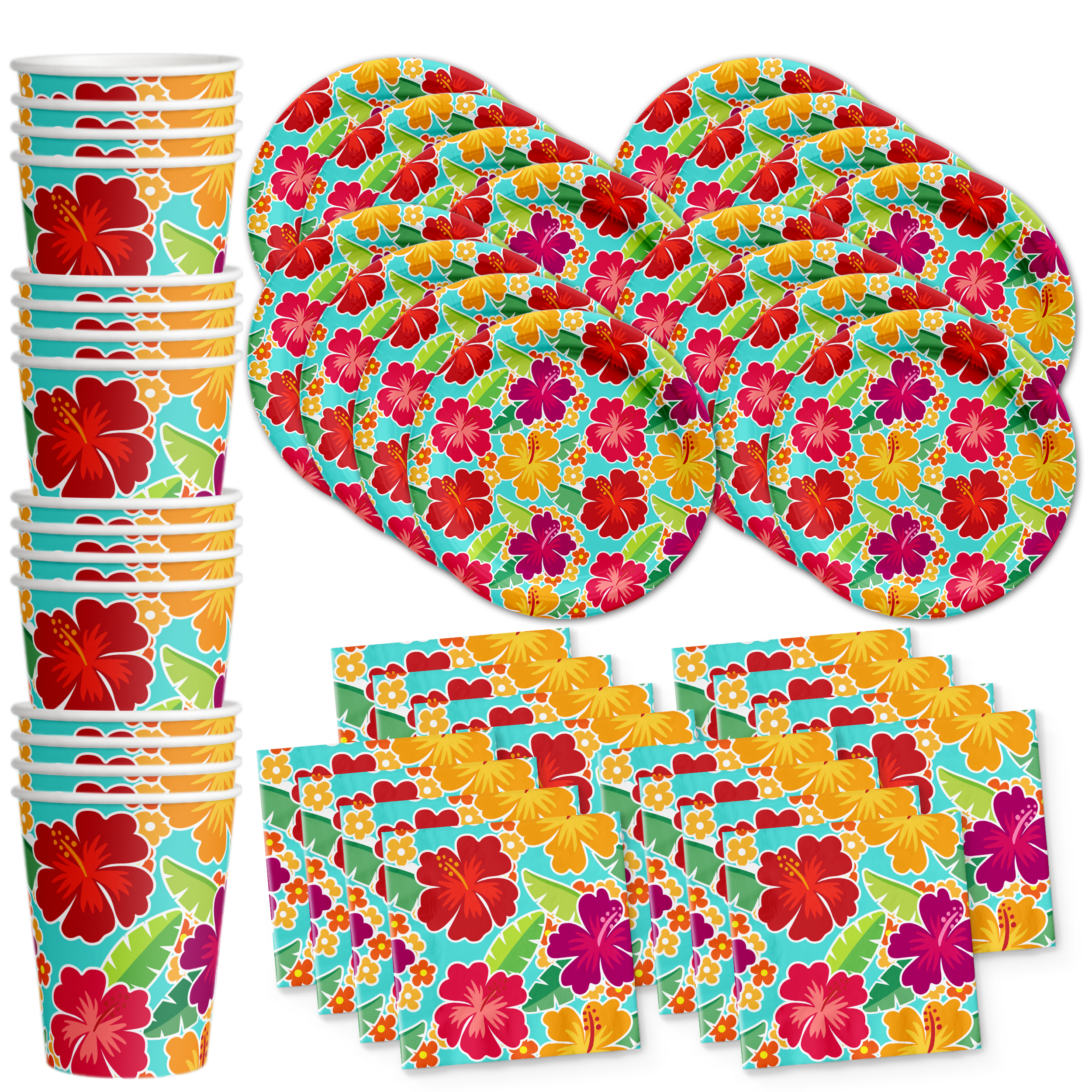 Hawaiian Luau Hibiscus Flower Birthday Party Tableware Kit For 16 Guests - BirthdayGalore.com