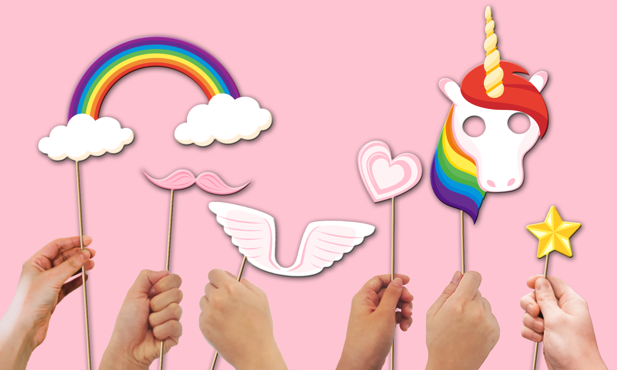 Rainbow Unicorn Photo Booth Props 20pcs Assembled
