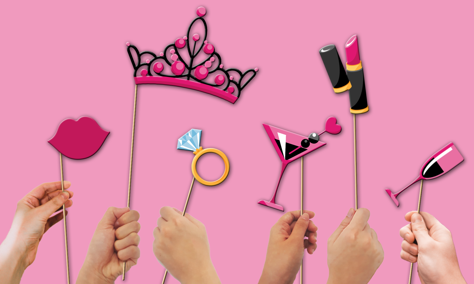 Bachelorette Party Photo Booth Props 20pcs Assembled - BirthdayGalore.com