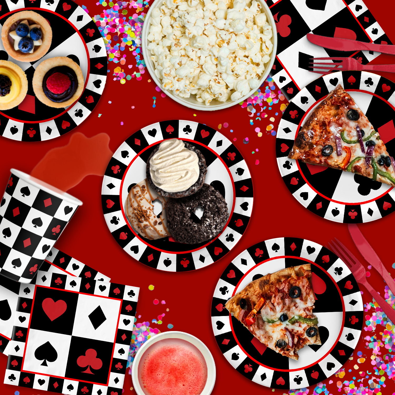 Casino Card Night Birthday Party Tableware Kit For 16 Guests - BirthdayGalore.com