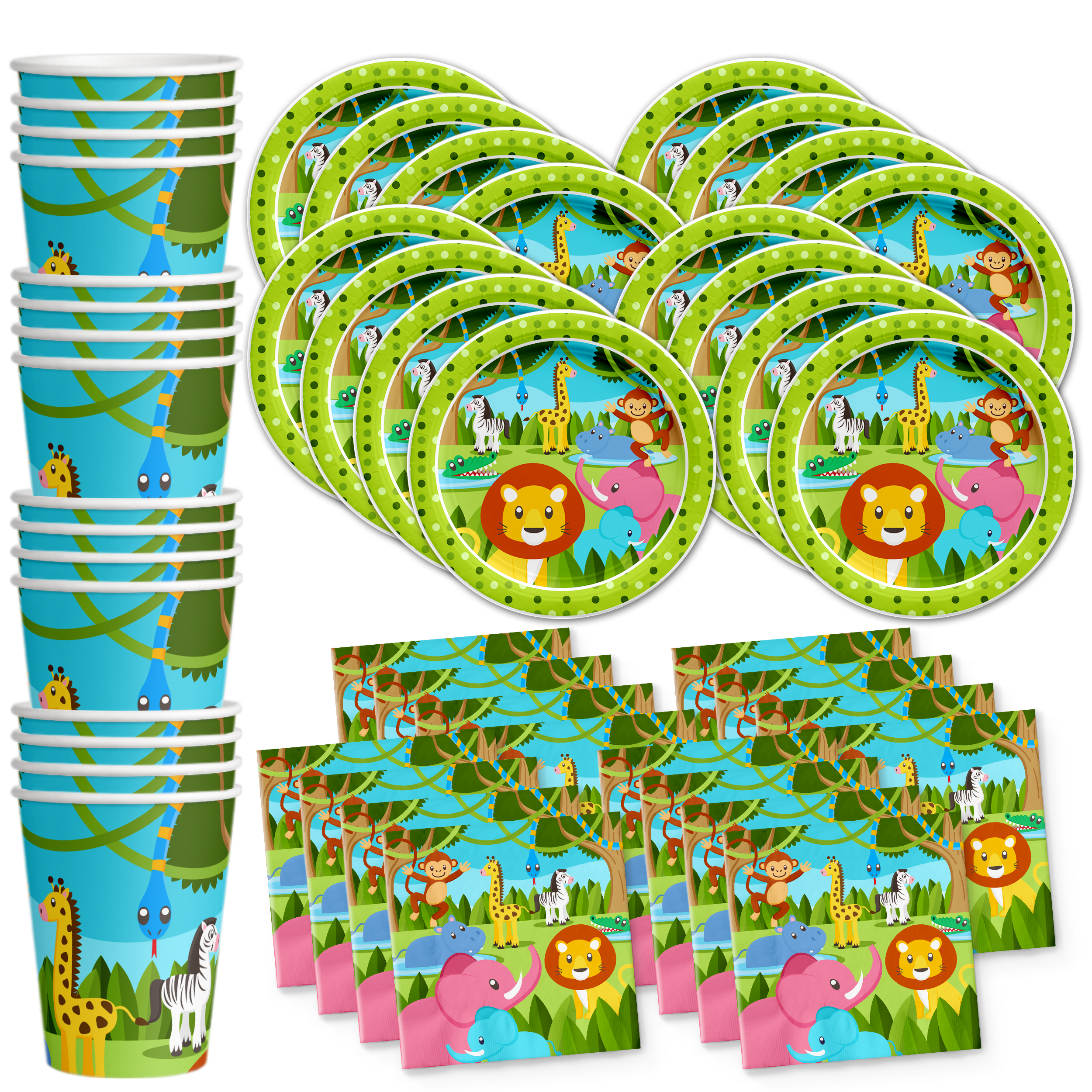 Jungle Animals Birthday Party Tableware Kit For 16 Guests - BirthdayGalore.com