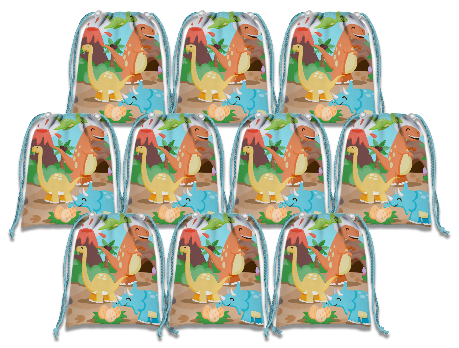 Little Dinosaur Drawstring Tote Bag (10 Pack) - BirthdayGalore.com