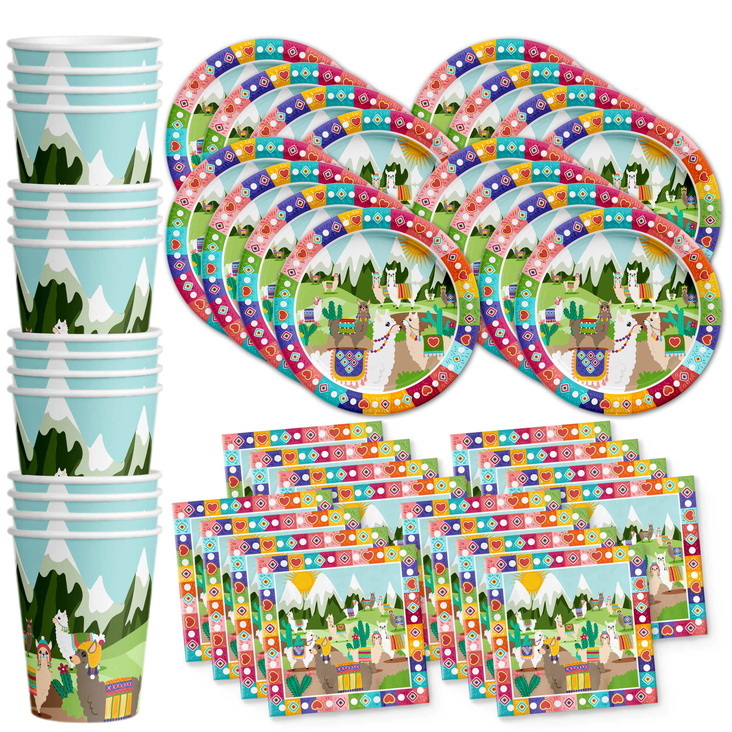 Llama Birthday Party Tableware Kit For 16 Guests - BirthdayGalore.com
