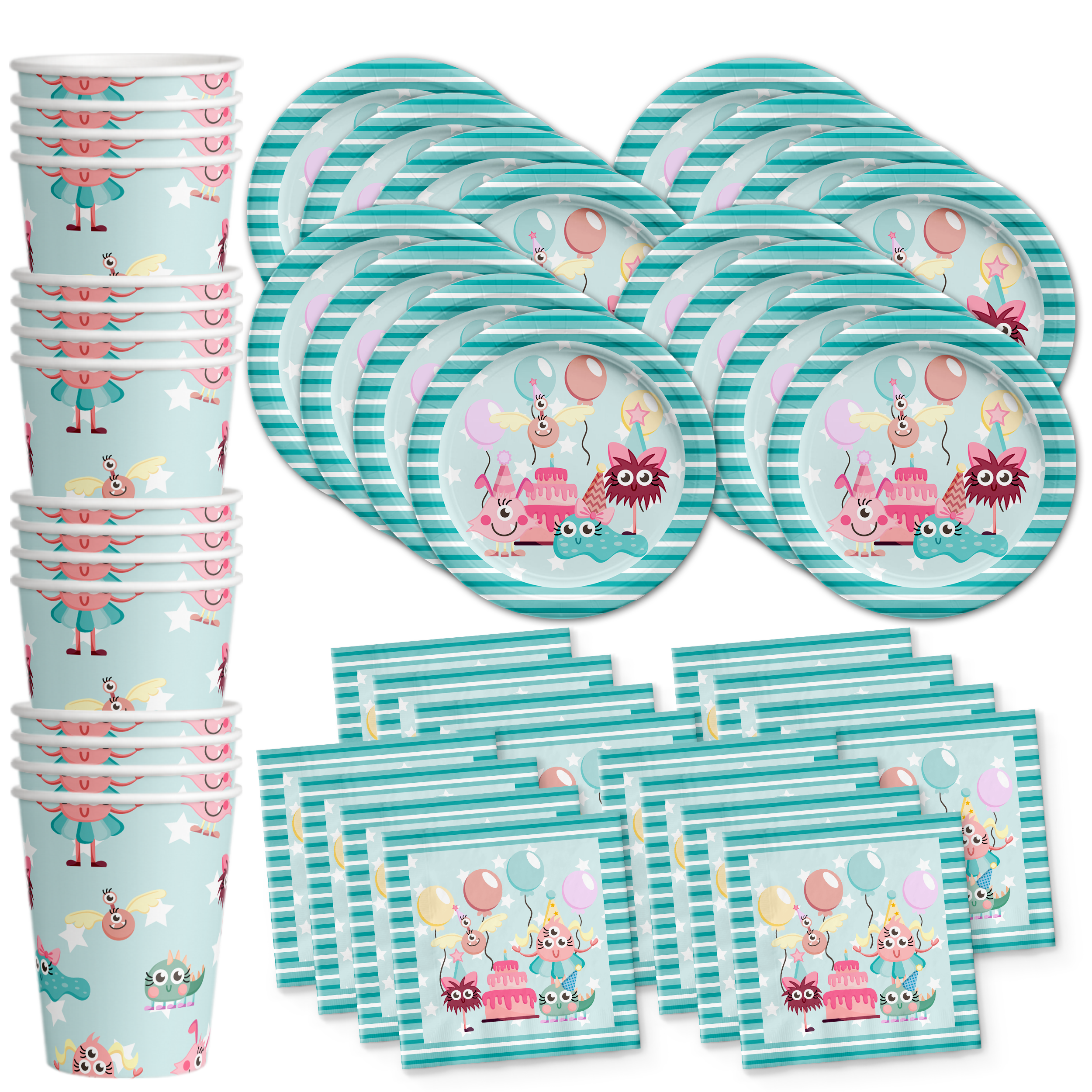 Mighty Monster Girl Birthday Party Tableware Kit For 16 Guests - BirthdayGalore.com