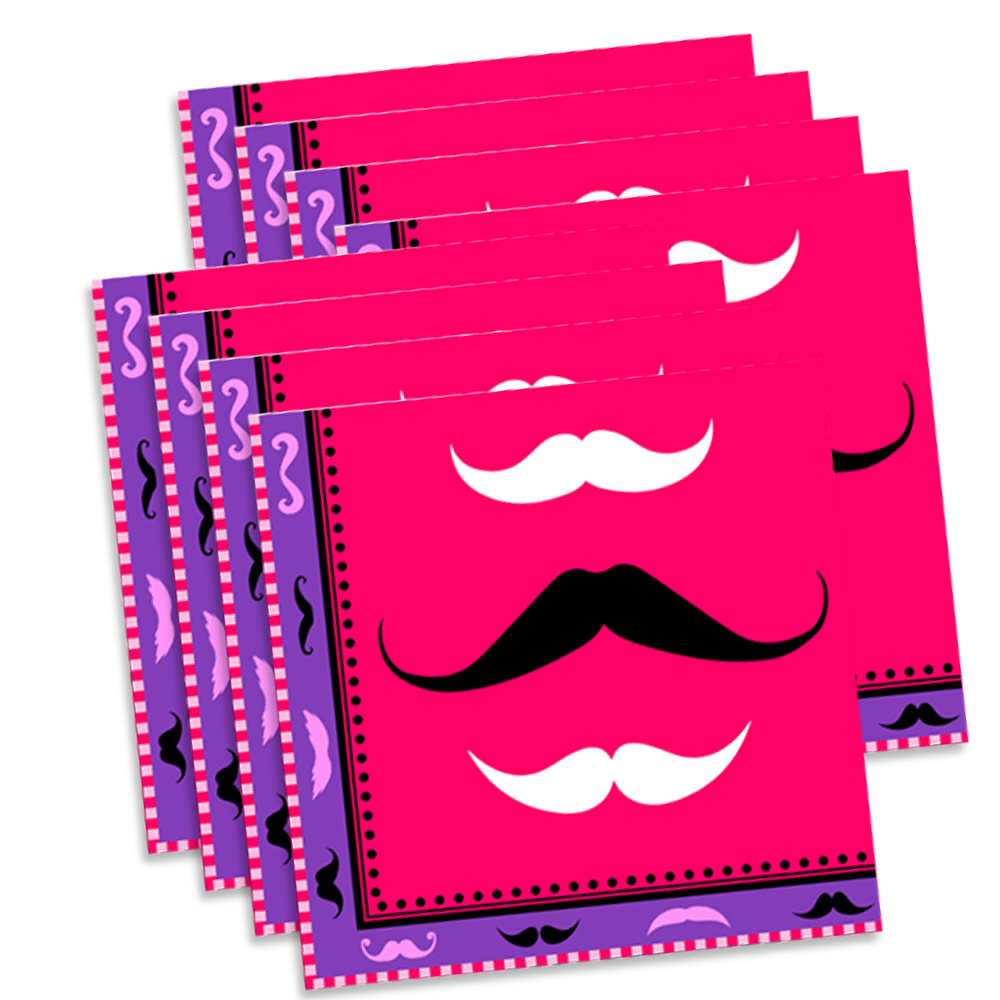 Pink Mustache Birthday Party Tableware Kit For 16 Guests - BirthdayGalore.com