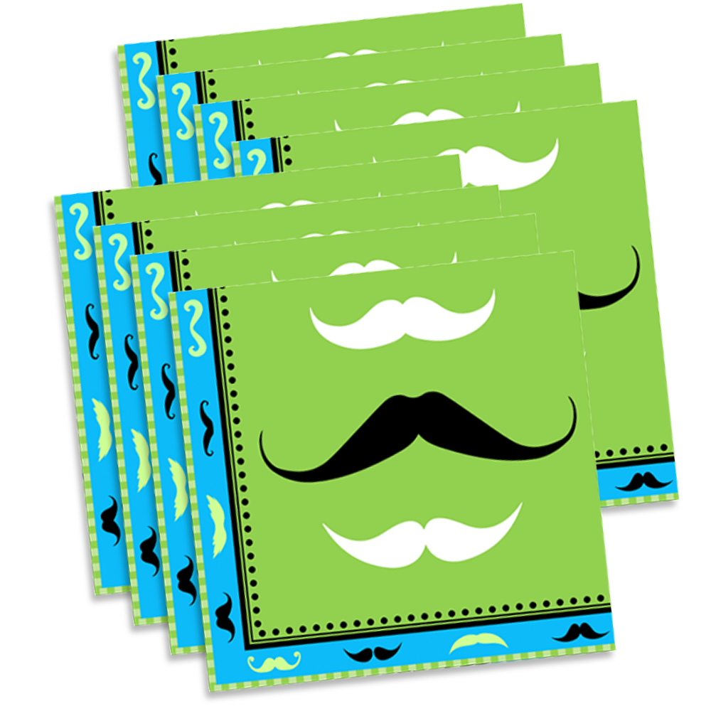 Mustache Birthday Party Tableware Kit For 16 Guests - BirthdayGalore.com