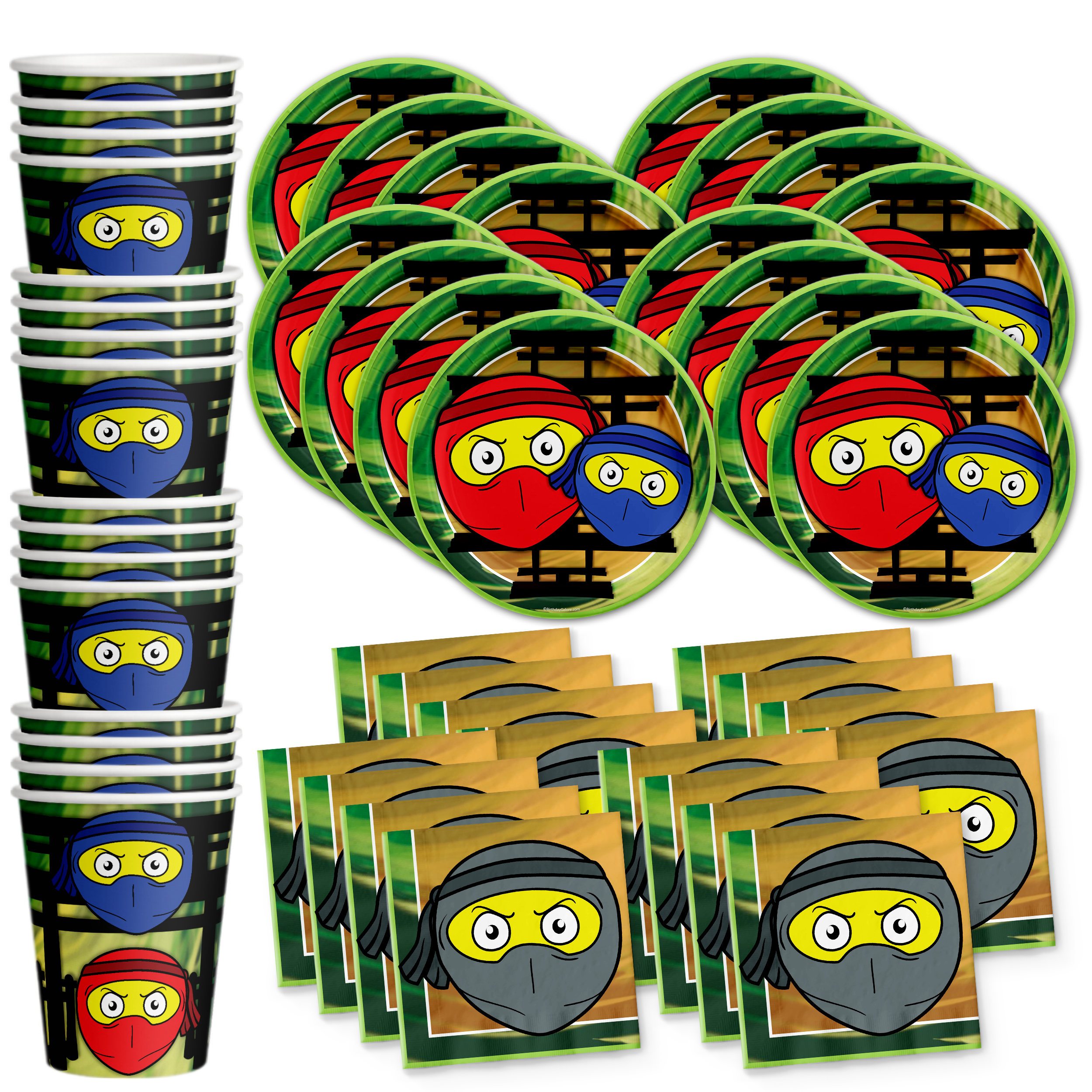 Ninja Master Birthday Party Tableware Kit For 16 Guests - BirthdayGalore.com