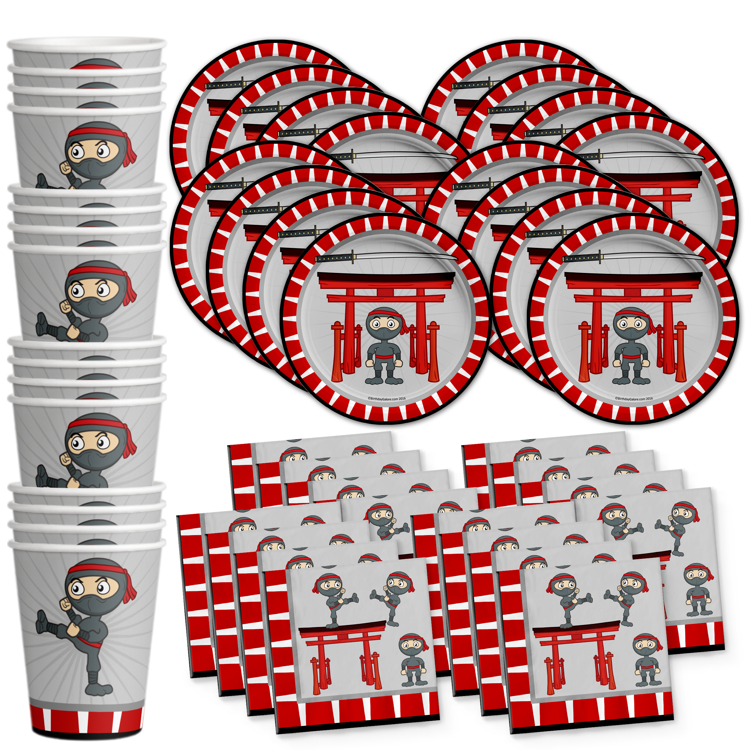 Ninja Warrior Birthday Party Tableware Kit For 16 Guests - BirthdayGalore.com